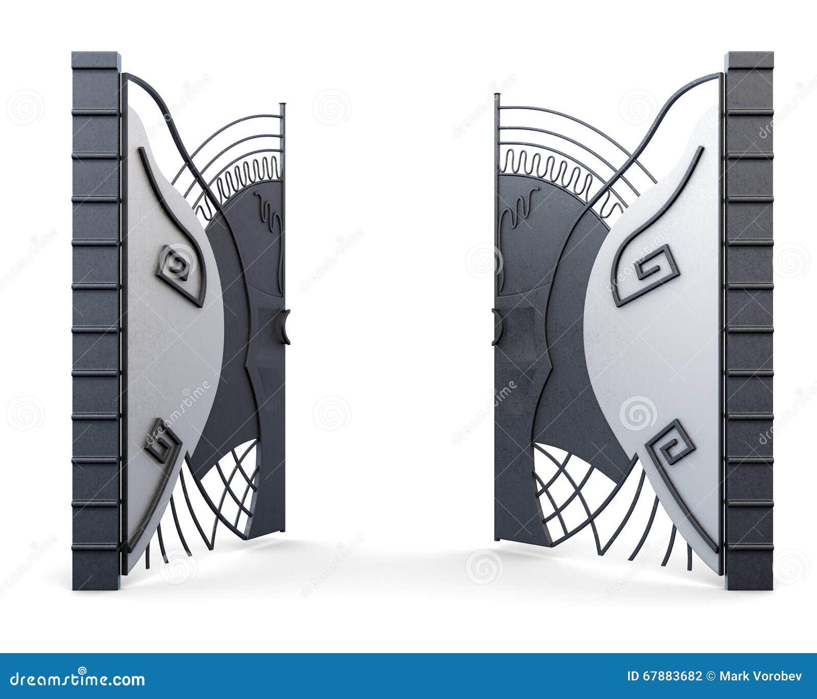 Ανοίξτε την πύλη σιδήρου στο άσπρο υπόβαθρο τρισδιάστατη απόδοση