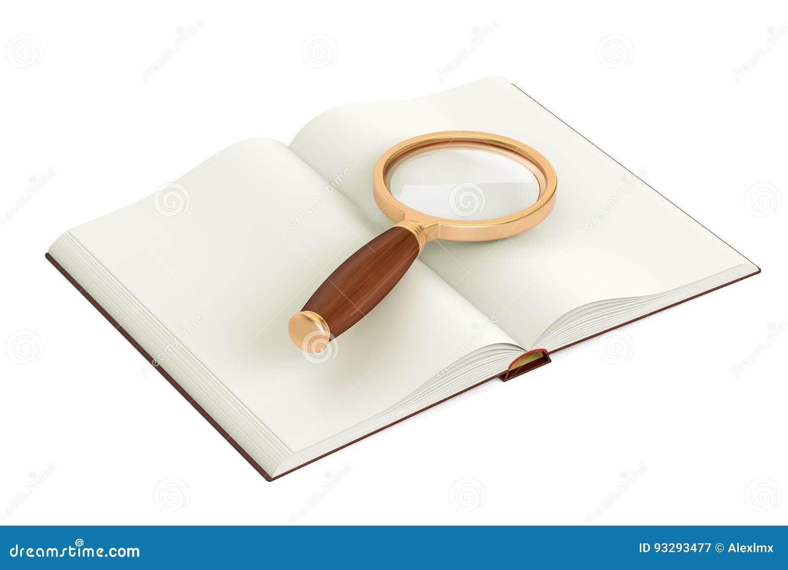 Ανοιγμένο κενό βιβλίο με την πιό magnifier, τρισδιάστατη απόδοση