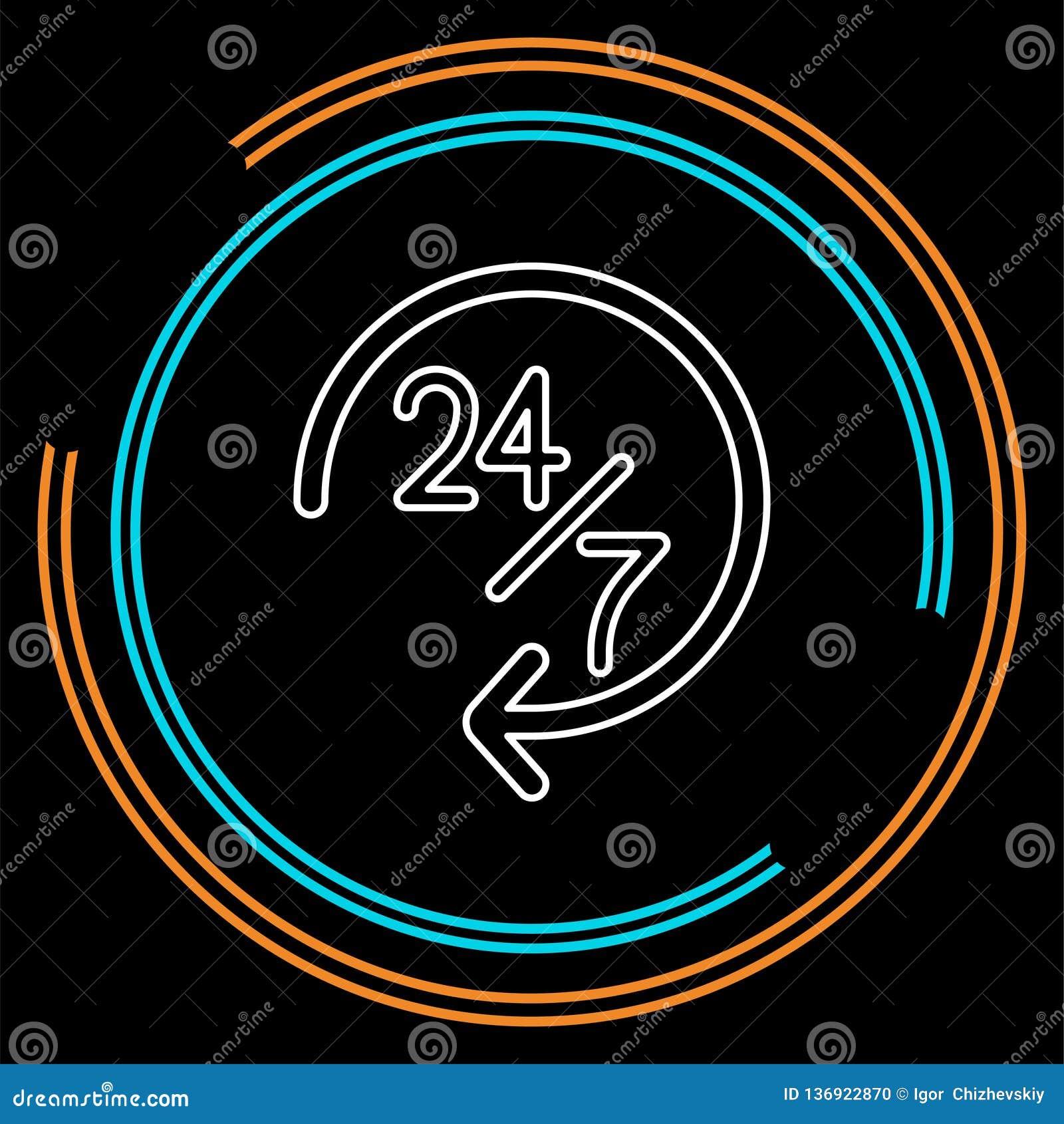 Ανοικτά 24 εικονίδιο 7 υπηρεσιών, διανυσματική εξυπηρέτηση πελατών
