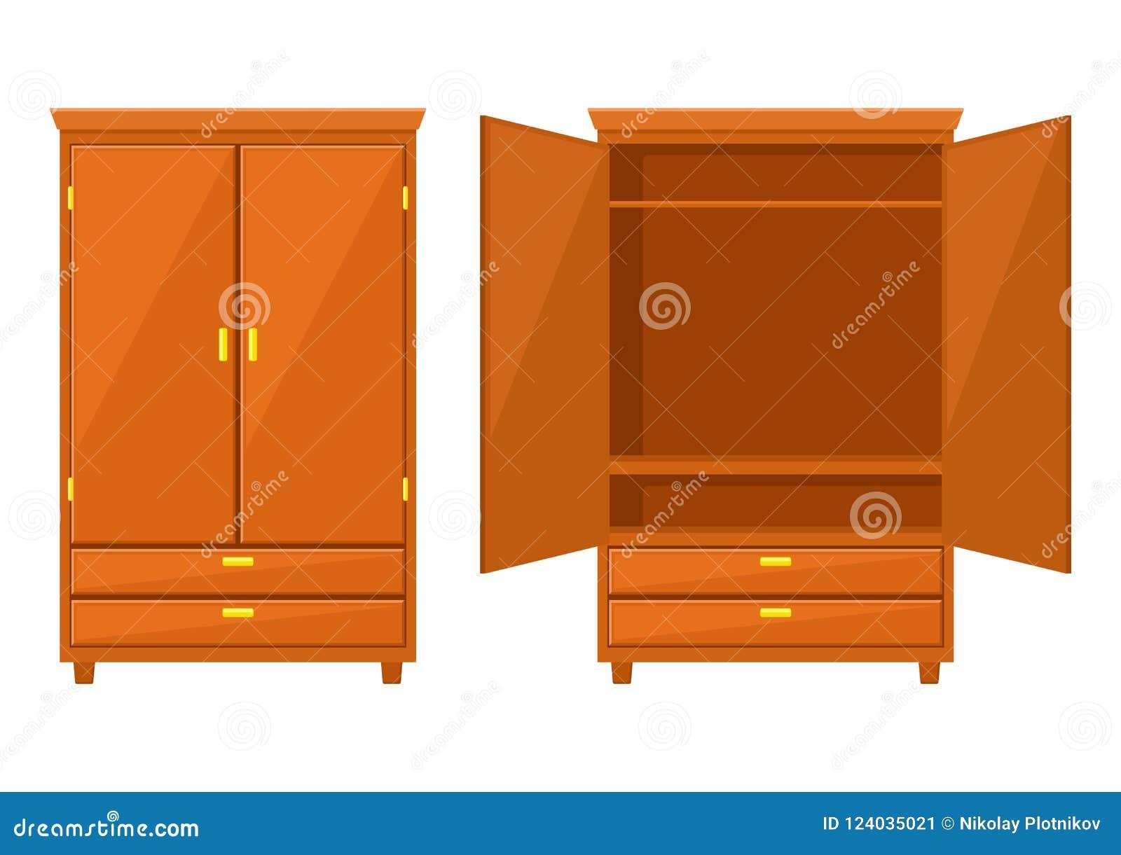 Ανοικτή και ντουλάπα ντουλαπιών που απομονώνεται στο άσπρο υπόβαθρο Φυσικά ξύλινα έπιπλα Εικονίδιο ντουλαπών στο επίπεδο ύφος Δωμ