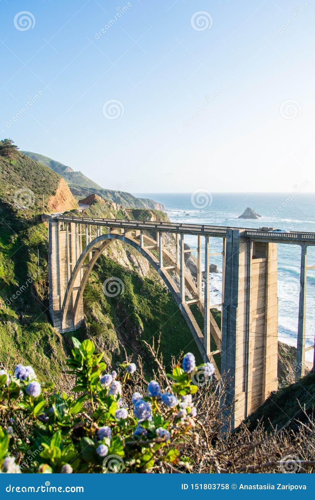 Ανοικτός-spandrel-ανοιγμένη γέφυρα αψίδων κολπίσκου Bixby γέφυρα σε Καλιφόρνια