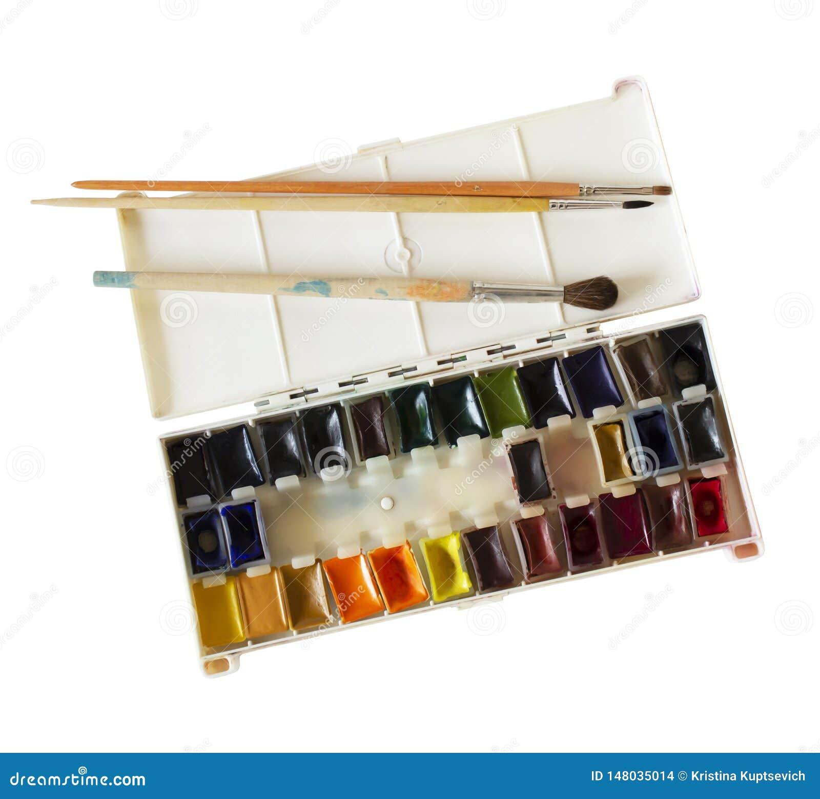 Ανοικτό κιβώτιο με τα χρώματα και τις βούρτσες watercolor