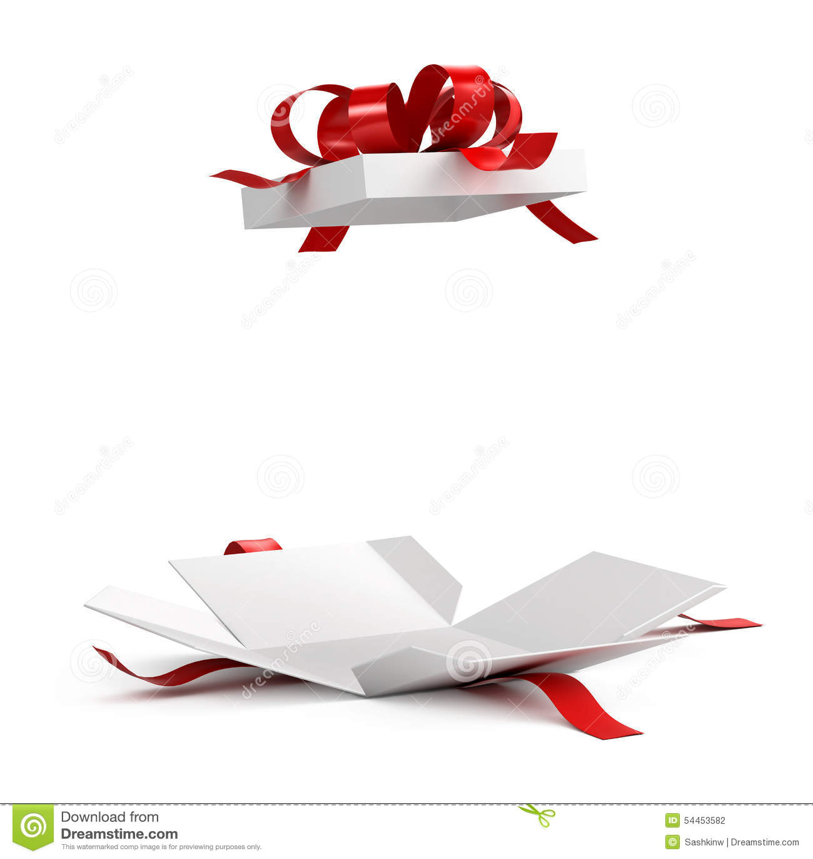 Ανοικτό κιβώτιο δώρων με την κόκκινη κορδέλλα