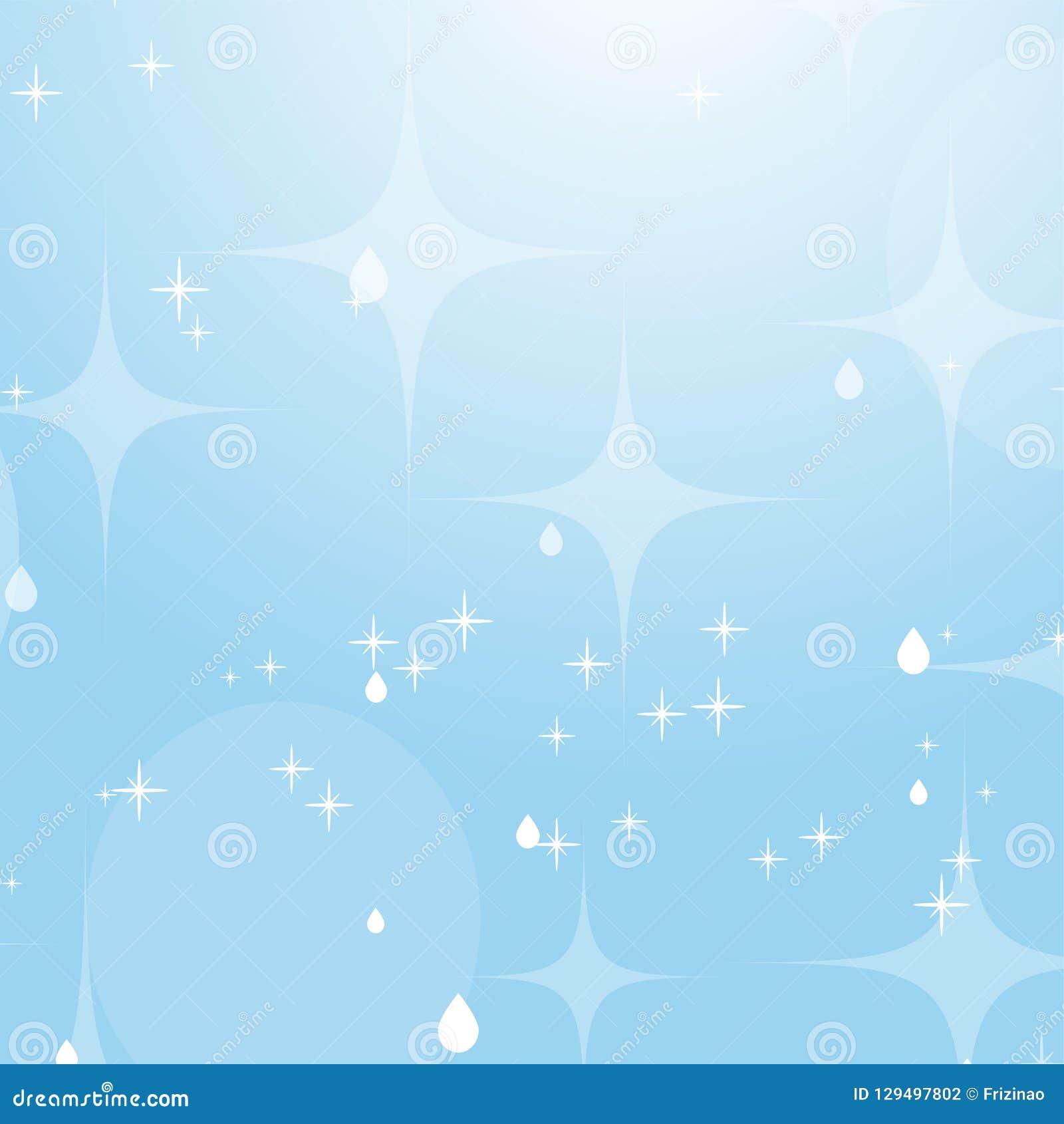 Ανοικτό μπλε αφηρημένο υπόβαθρο με τα αστέρια και bokeh Όμορφος ουρανός Απλή επίπεδη διανυσματική απεικόνιση