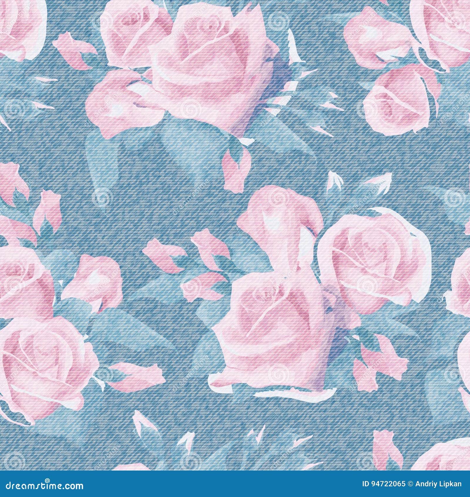 Ανοικτό μπλε τζιν με το ζωηρόχρωμο floral σχέδιο Όμορφα αγγλικά αυξήθηκε floral άνευ ραφής υπόβαθρο Ρεαλιστικό χέρι τριαντάφυλλων