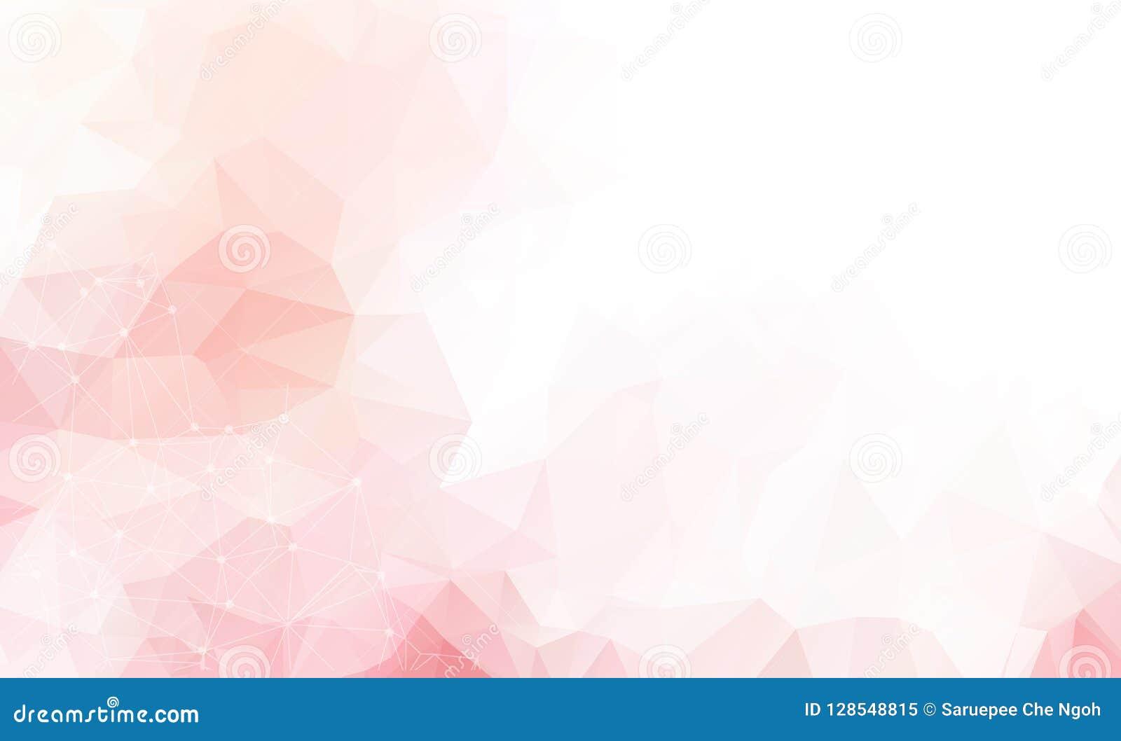 Ανοικτό ροζ διανυσματικό υπόβαθρο με τα σημεία και τις γραμμές Αφηρημένη απεικόνιση με τους ζωηρόχρωμους δίσκους και τα τρίγωνα Ό