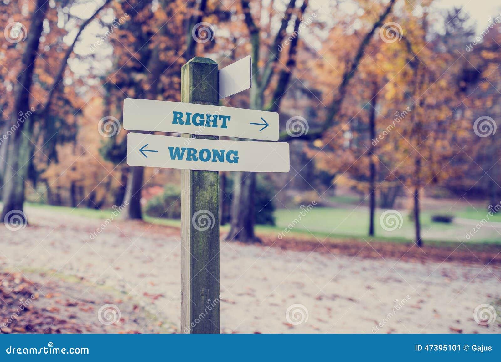 Αντίθετες κατευθύνσεις προς σωστός και λανθασμένος