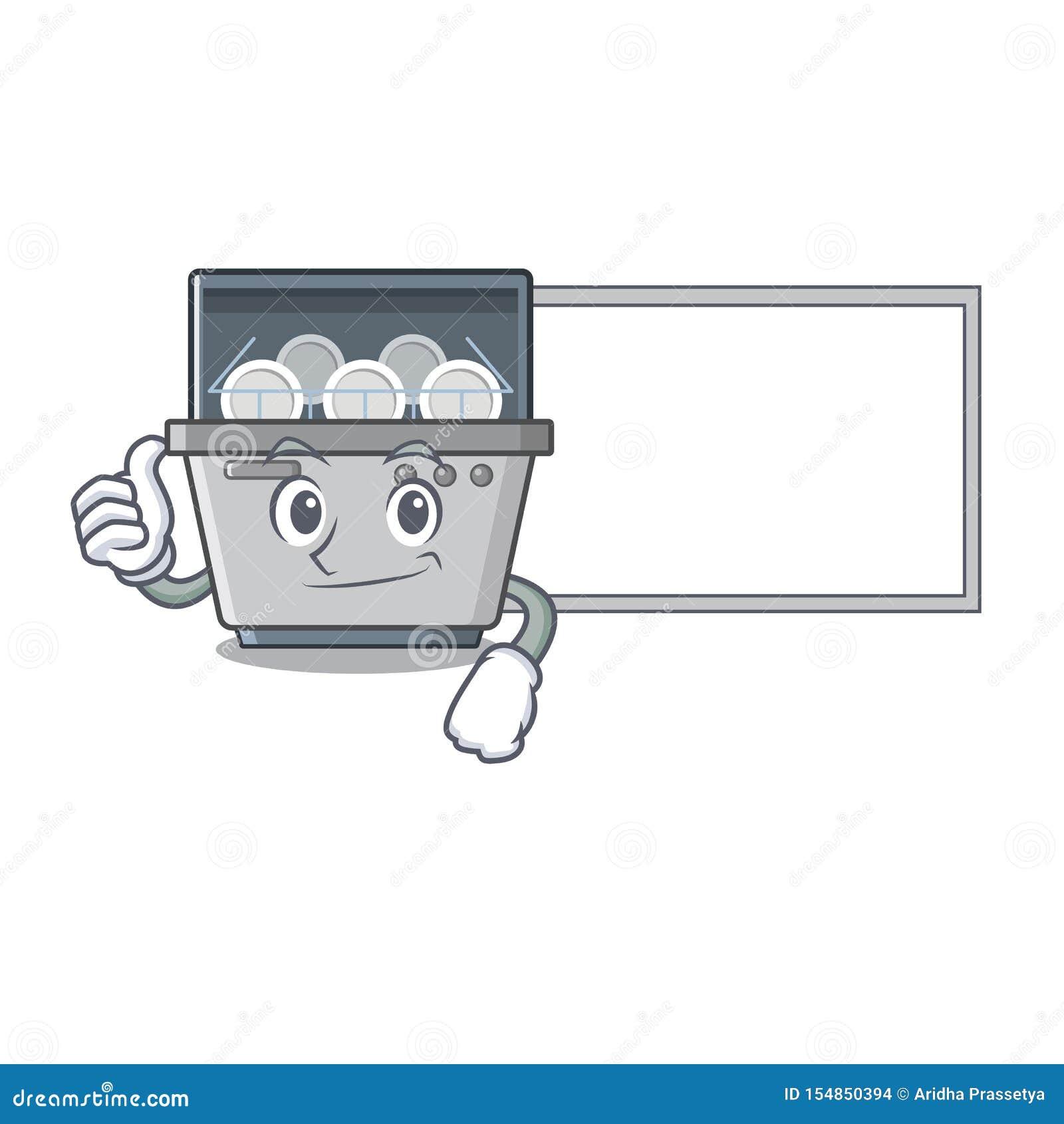 Αντίχειρες επάνω με τη μηχανή πλυντηρίων πιάτων μασκότ πινάκων στην κουζίνα