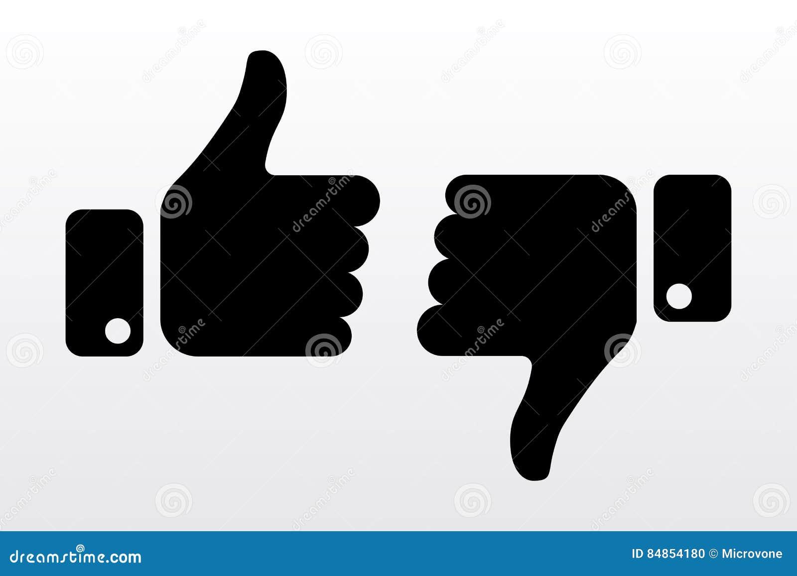 Αντίχειρες πάνω-κάτω, όπως τα εικονίδια απέχθειας για το κοινωνικό δίκτυο