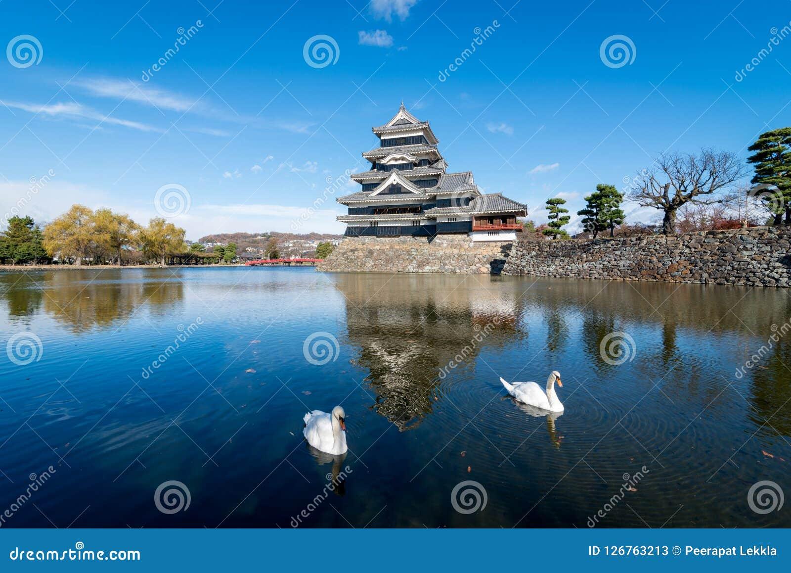 Αντανάκλαση του κάστρου του Ματσουμότο με τους κύκνους στο Ματσουμότο, Ναγκάνο, Ιαπωνία