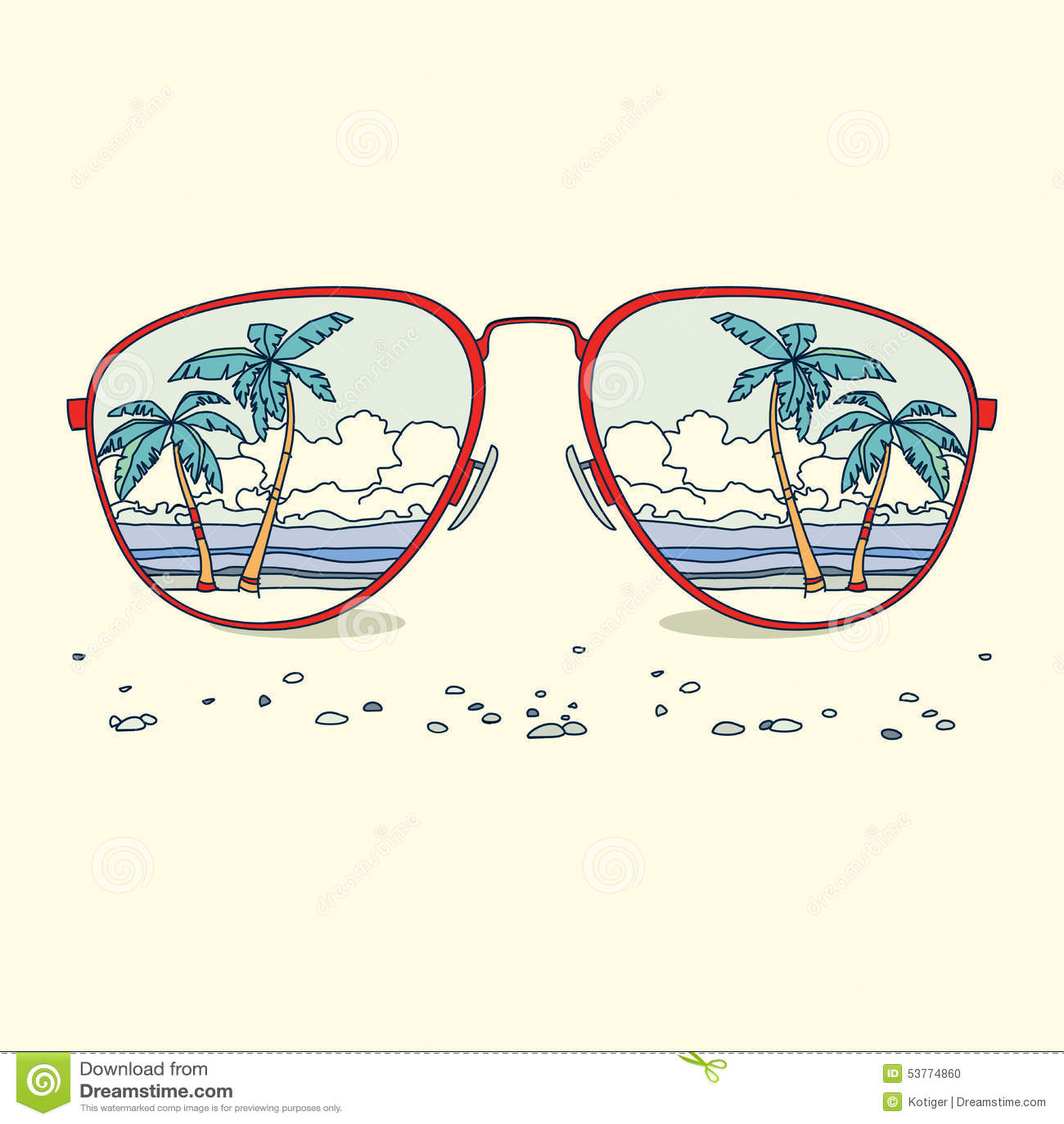 Αντανάκλαση της παραλίας, φοίνικες, παραλία μέσα