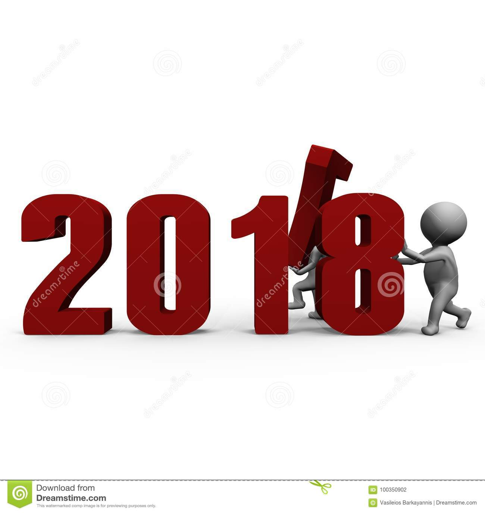 Αντικαθιστώντας τους αριθμούς για να διαμορφώσει το νέο έτος 2018 - μια τρισδιάστατη εικόνα