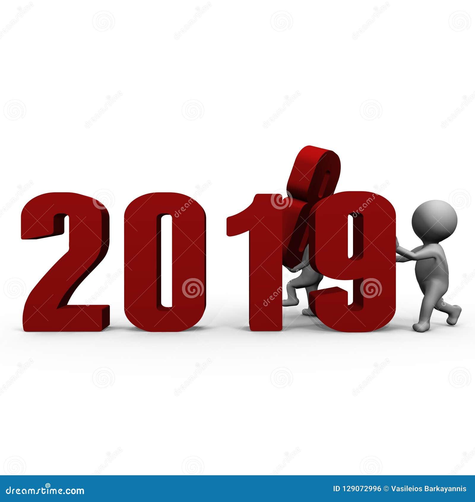 Αντικαθιστώντας τους αριθμούς για να διαμορφώσει το νέο έτος 2019 - μια τρισδιάστατη εικόνα