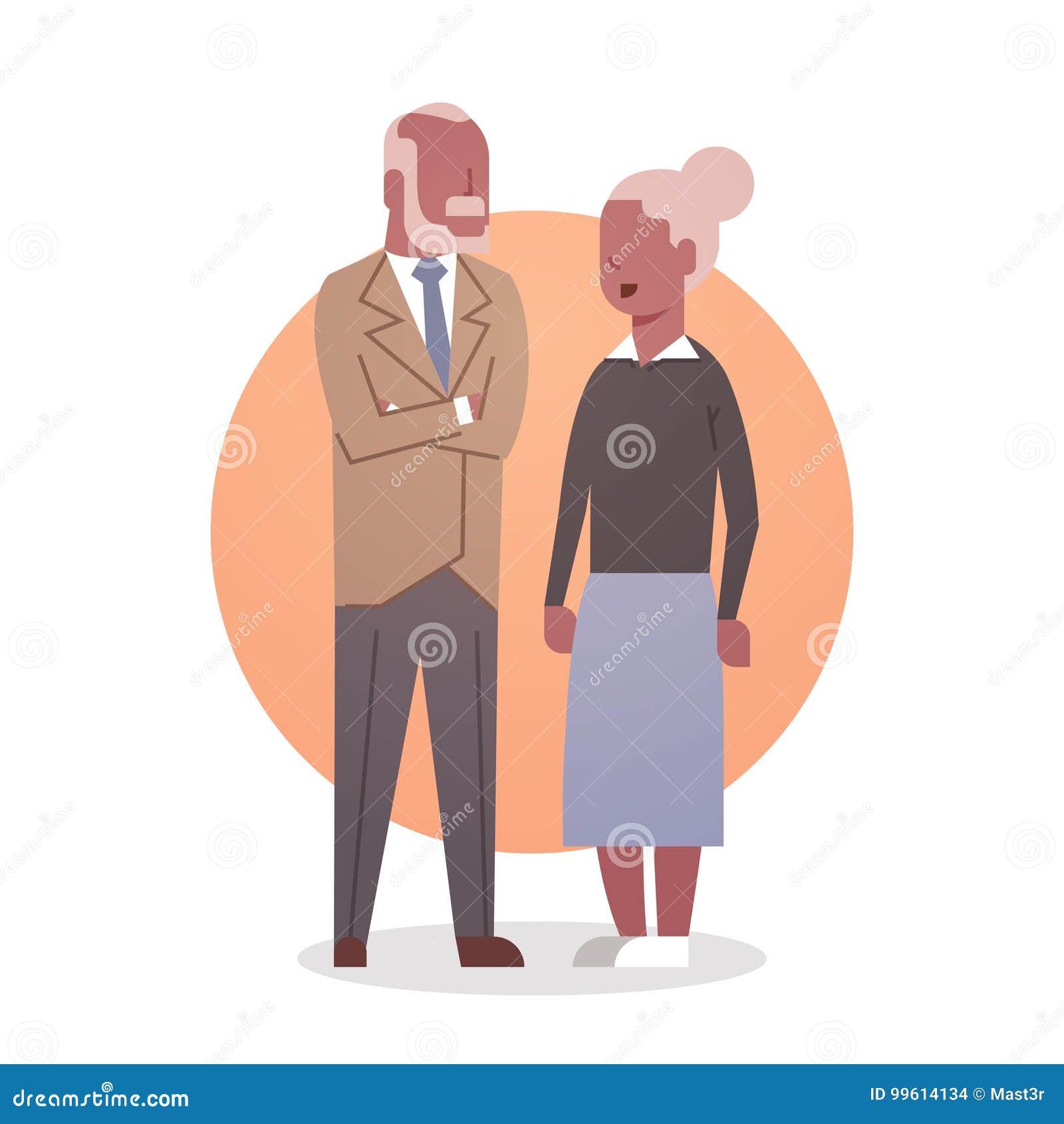 Ανώτερη γιαγιά ζεύγους αφροαμερικάνων ανδρών και γυναικών και γκρίζο μήκος εικονιδίων τρίχας Grandfathr πλήρες