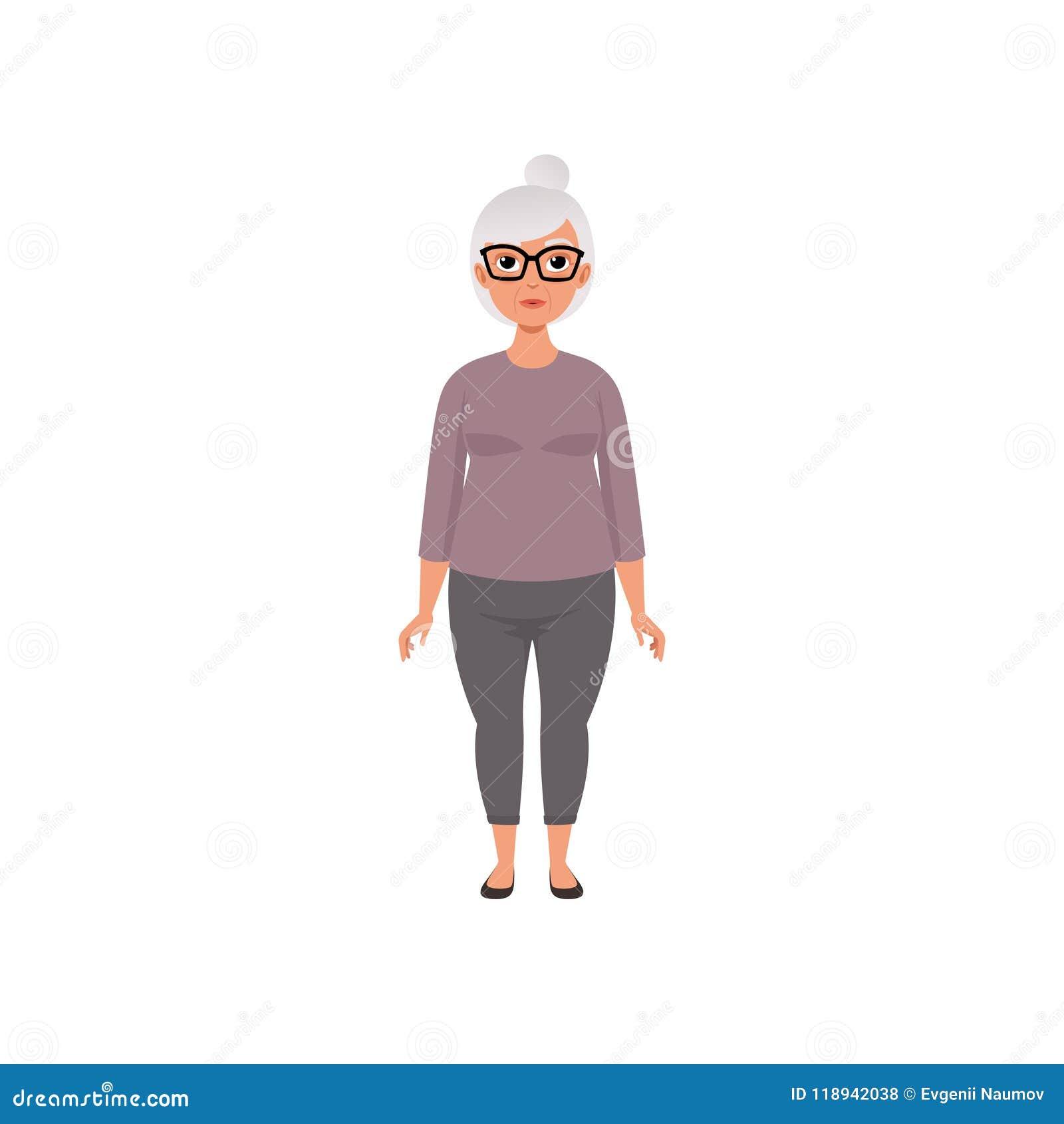 Ανώτερη γυναίκα, γιαγιά, στάδιο να μεγαλώσει τη διανυσματική απεικόνιση έννοιας σε ένα άσπρο υπόβαθρο