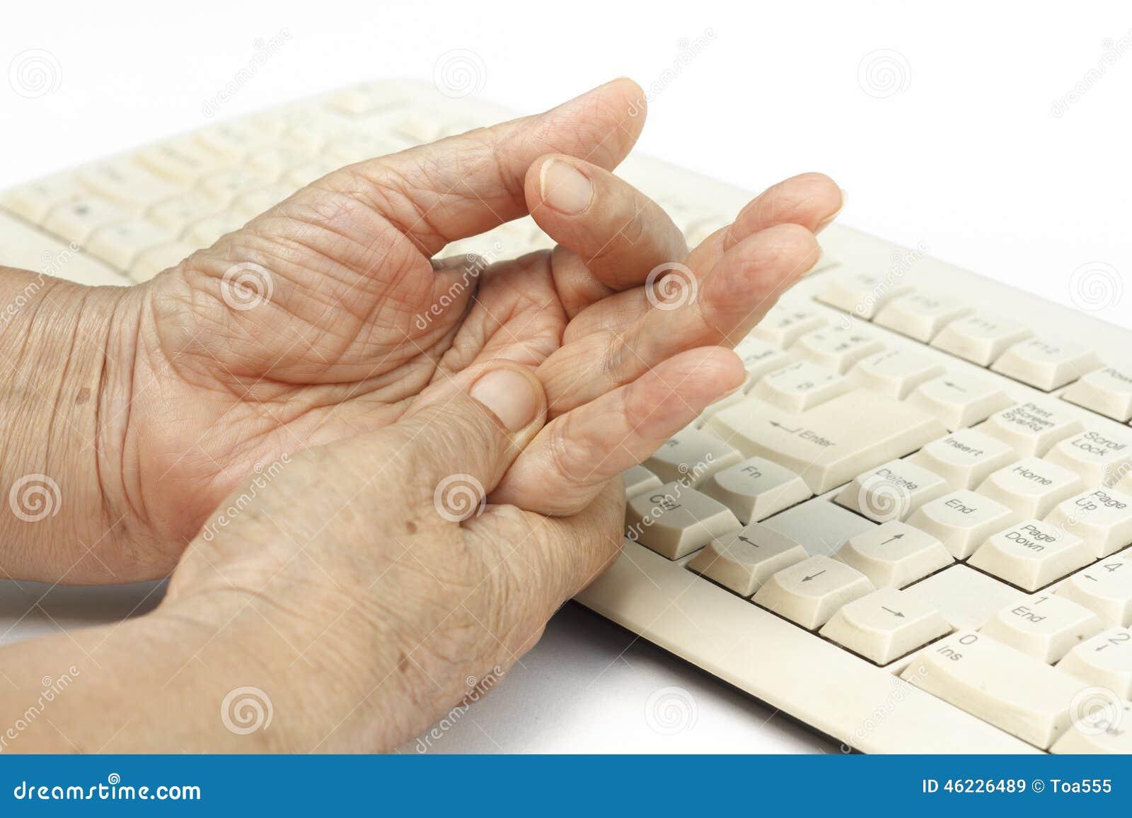 Ανώτερη χρήση αιτίας δάχτυλων γυναικών επίπονη του πληκτρολογίου