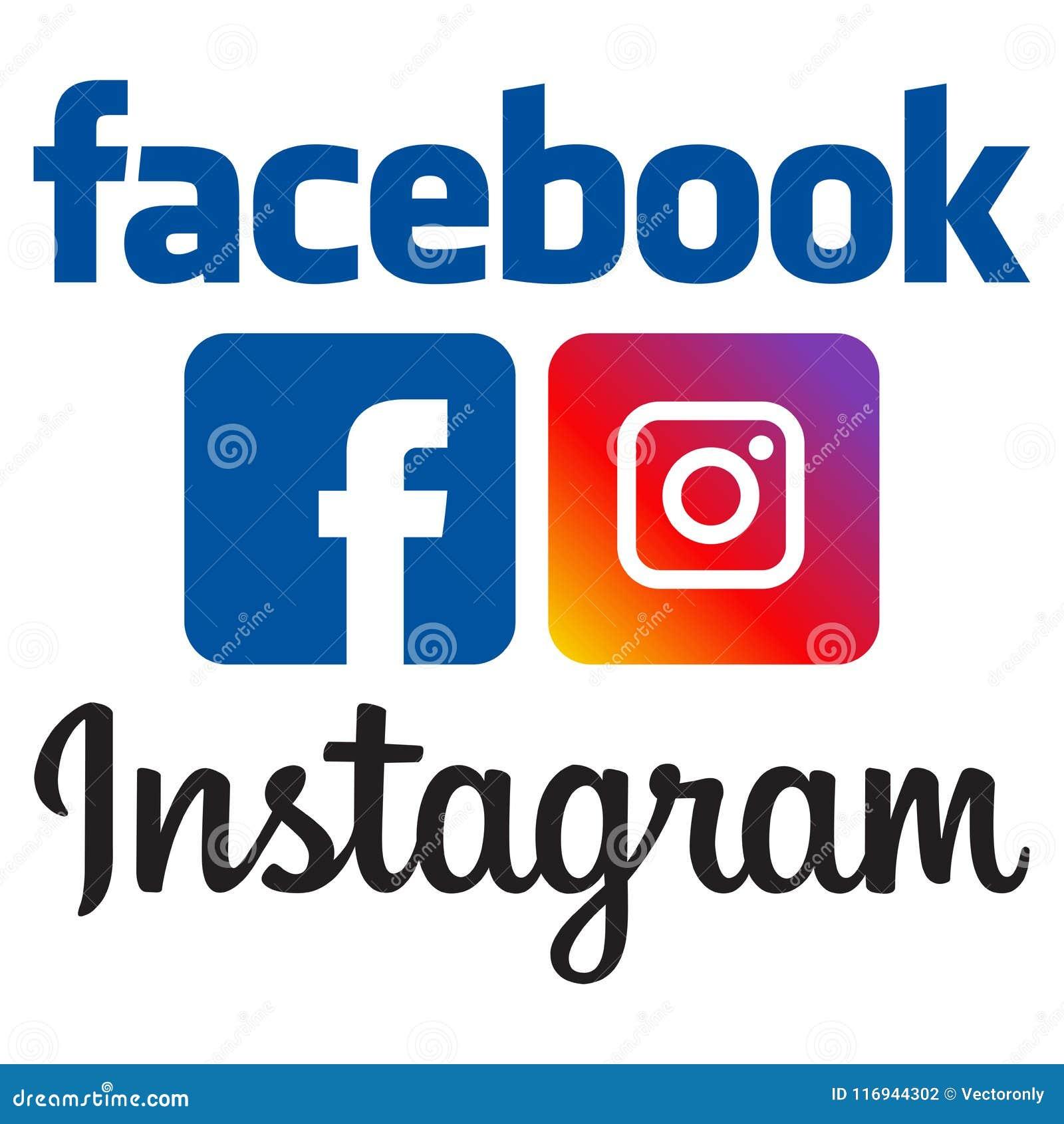 Ανώτερος υπάλληλος facebook και instagram λογότυπα