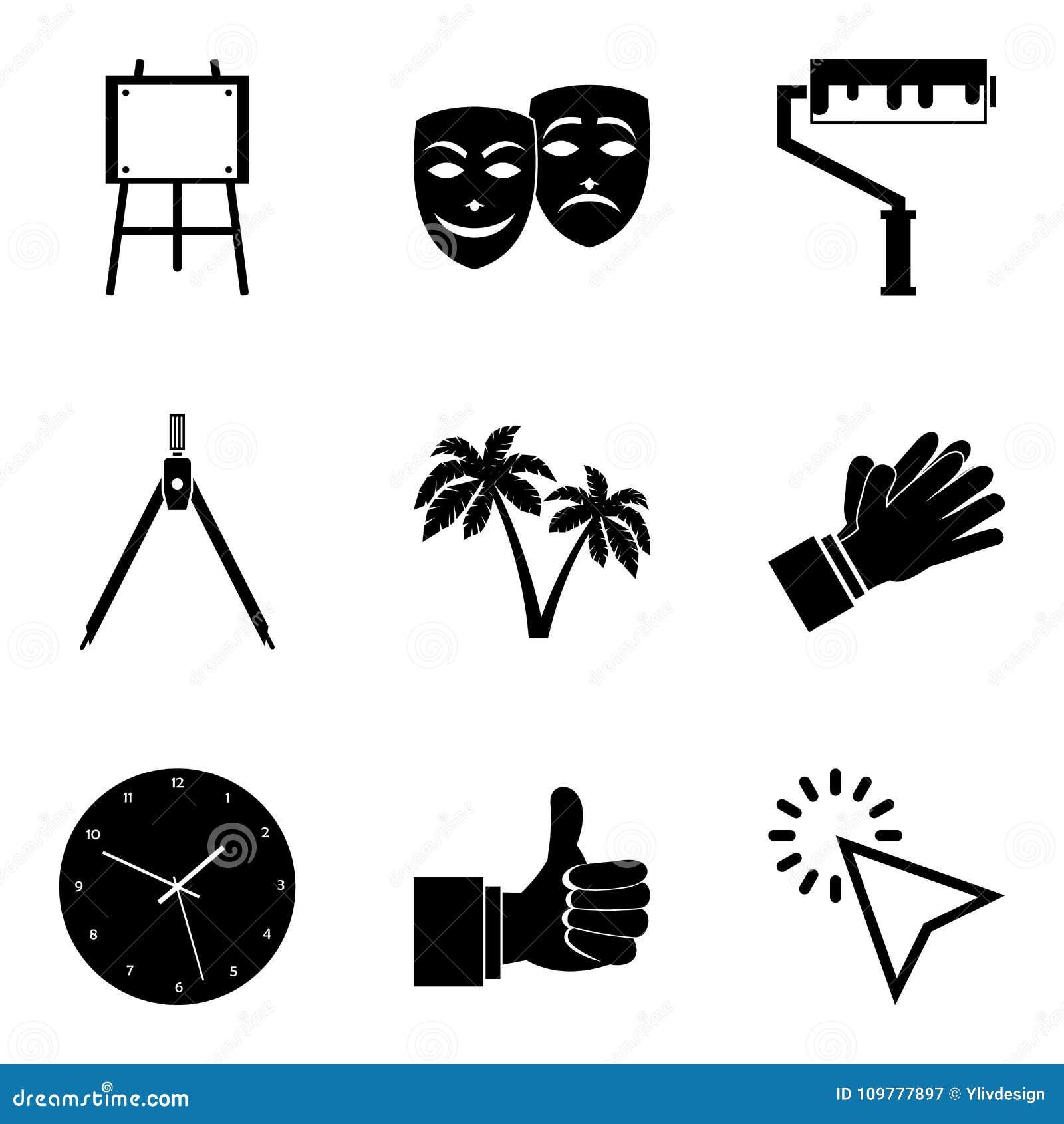 Απεικονίστε τα εικονίδια καθορισμένα, απλό ύφος