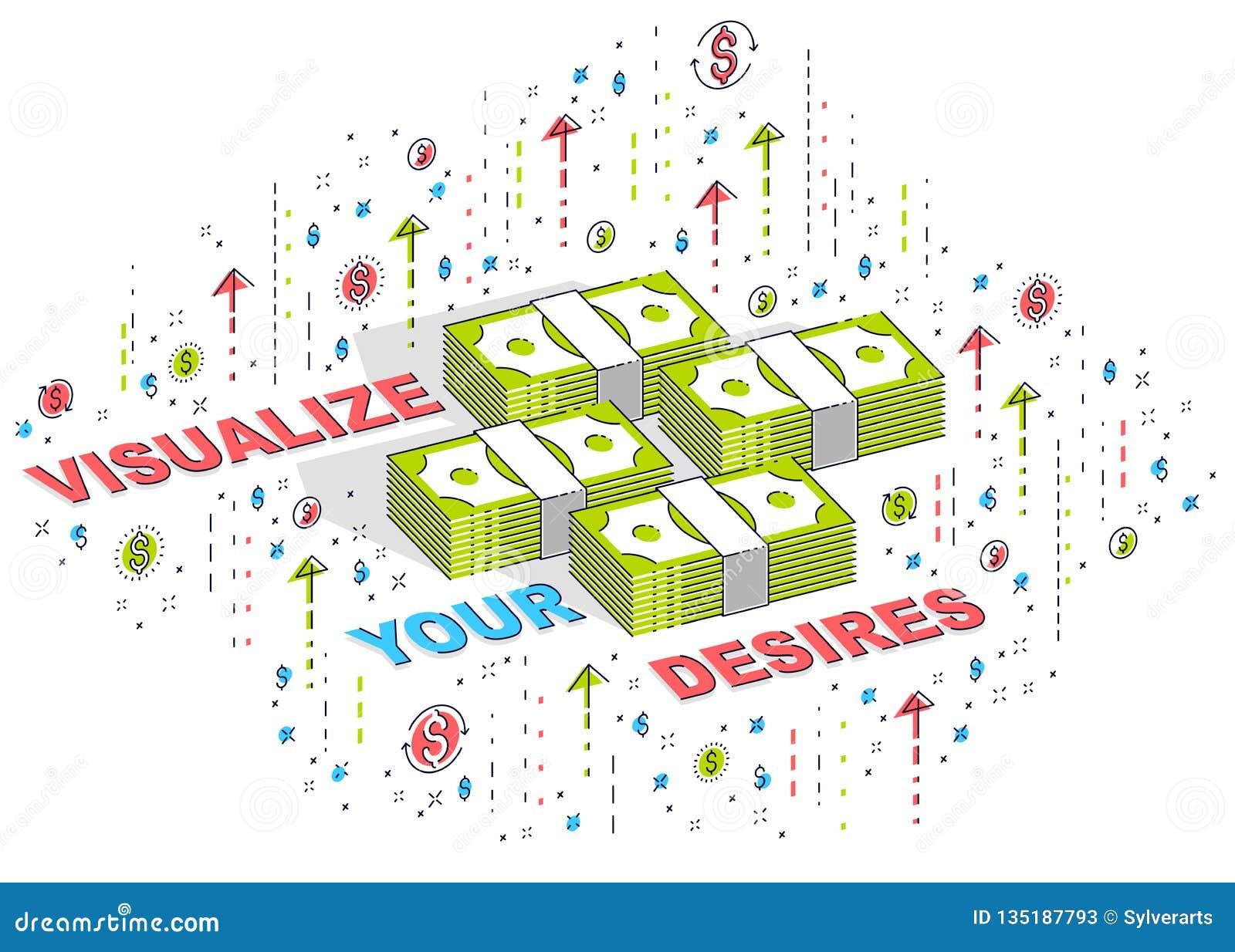 Απεικονίστε την αφίσα επιχειρησιακού κινήτρου στόχων ή το έμβλημά σας, σωροί χρημάτων μετρητών με την εγγραφή που απομονώνεται στ