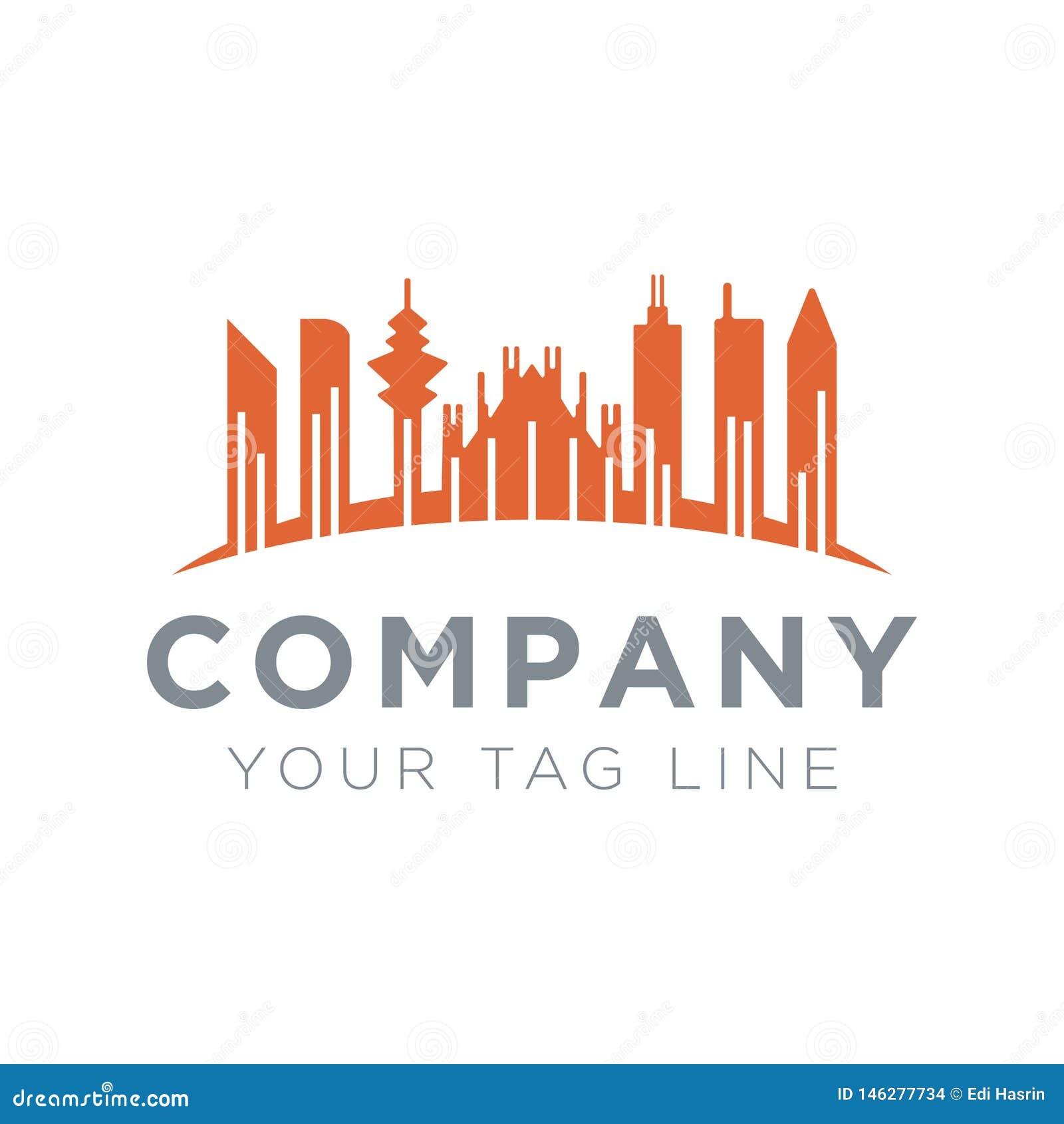 Απεικόνιση ενός λογότυπου πόλεων με έναν ψηλό μέγιστο πύργο