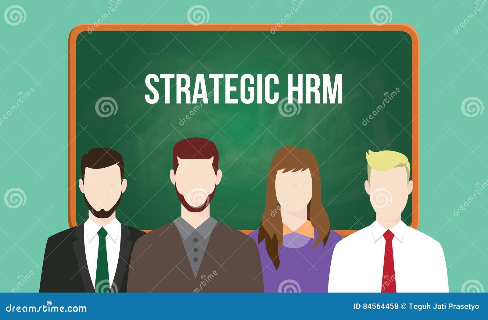 Απεικόνιση διοικητικής έννοιας στρατηγικού hrm ή του ανθρώπινου δυναμικού με το κείμενο που γράφεται στον πίνακα κιμωλίας