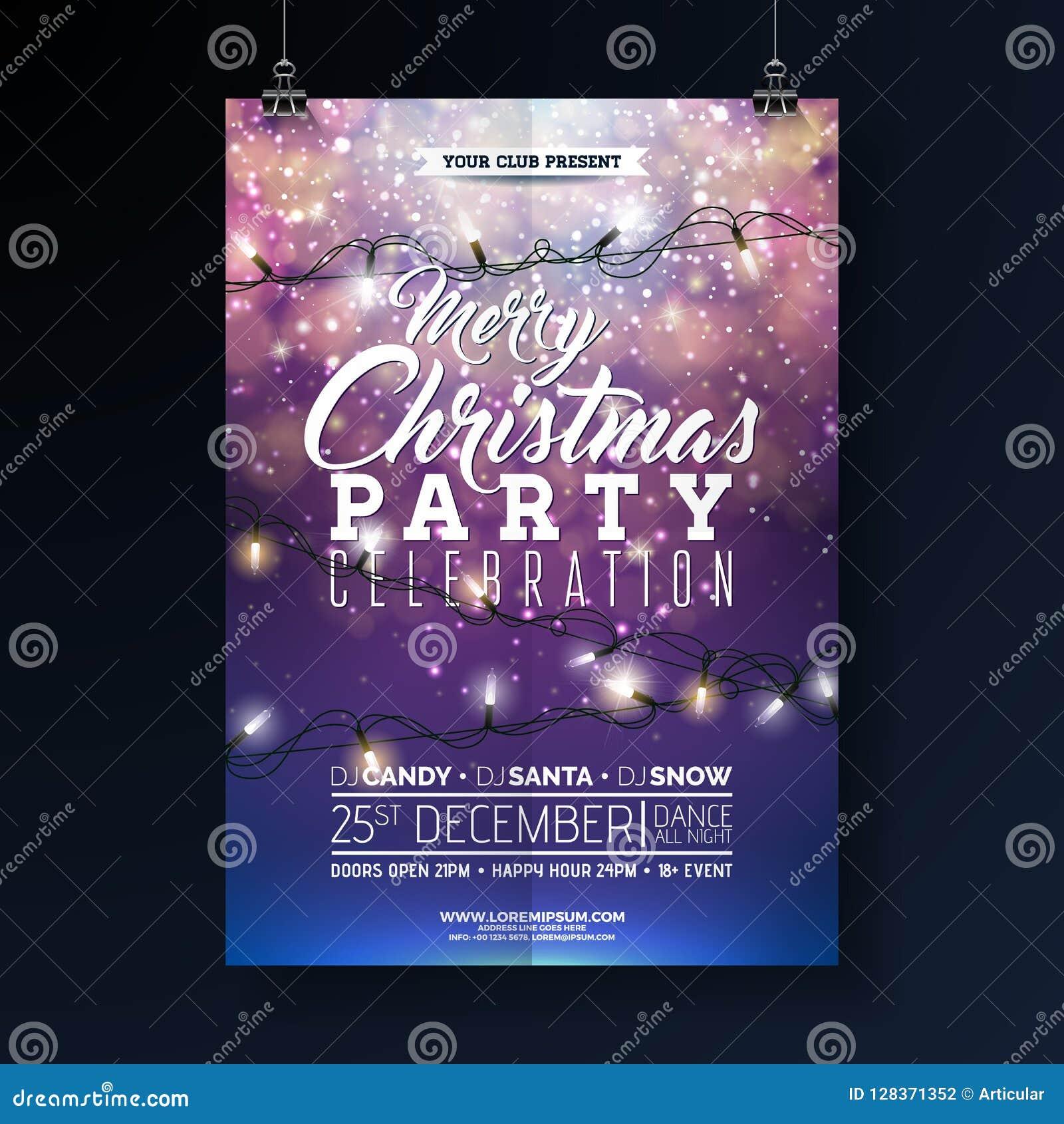 Απεικόνιση ιπτάμενων γιορτής Χριστουγέννων με τη γιρλάντα φω των και εγγραφή τυπογραφίας στο λαμπρό μπλε υπόβαθρο Διανυσματικές δ