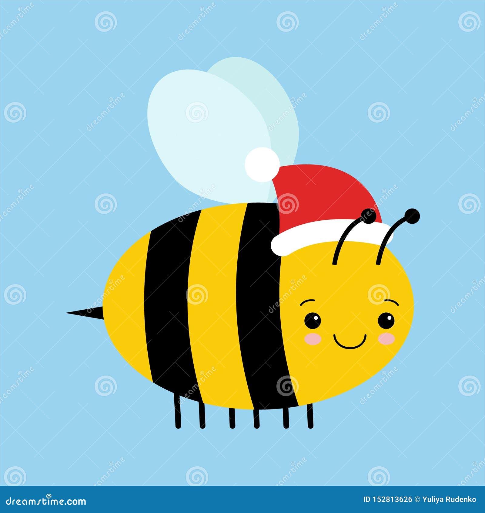 Απεικόνιση κινούμενων σχεδίων μιας χαριτωμένης ευτυχούς εορταστικής μέλισσας με ένα καπέλο Santa