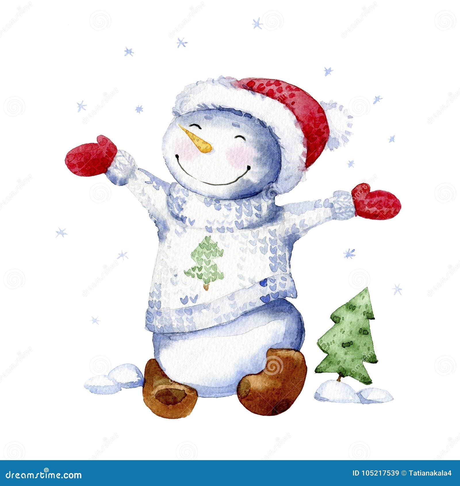 Απεικόνιση κινούμενων σχεδίων Watercolor Ο ευτυχής χιονάνθρωπος χαίρεται για το πρώτο χιόνι
