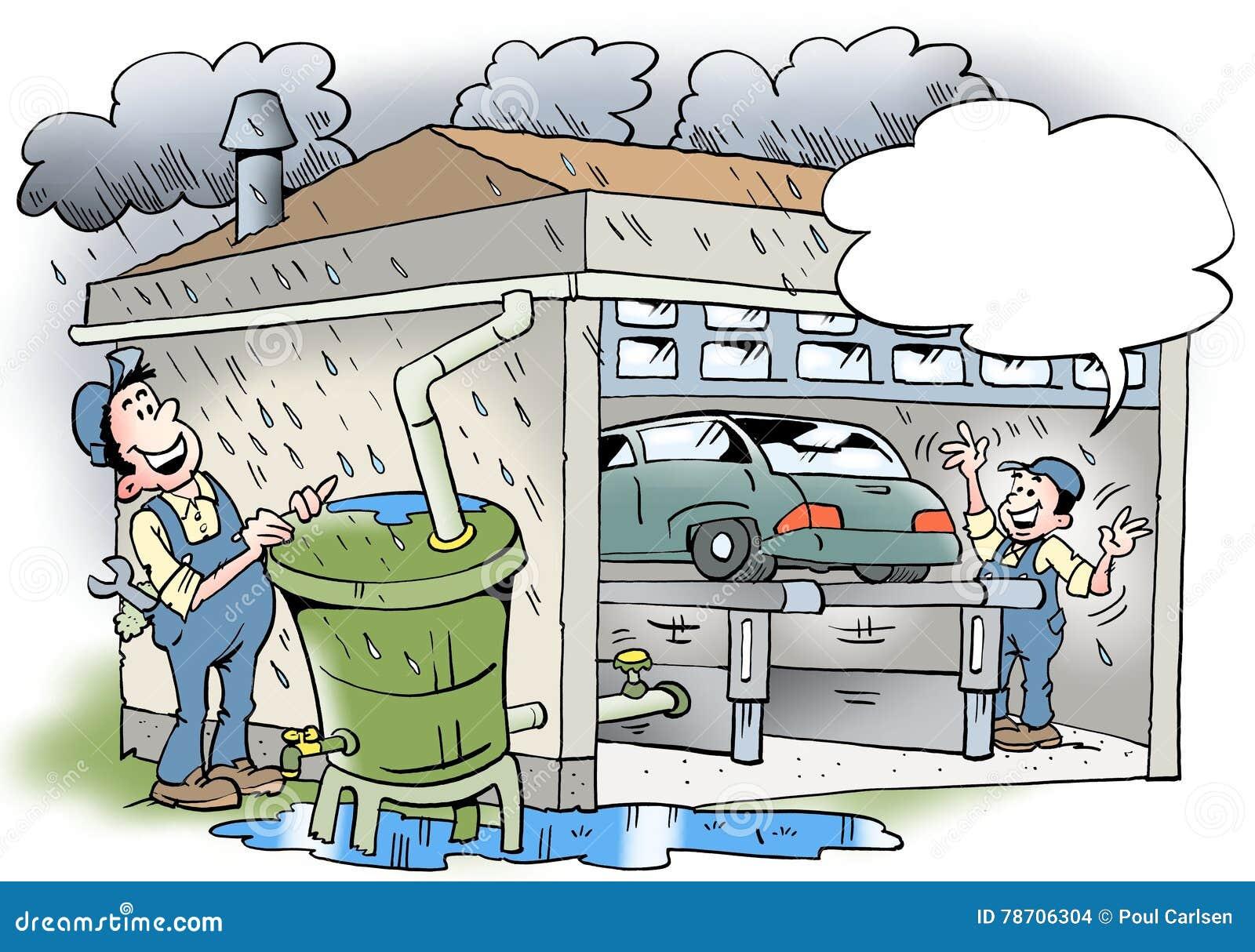 Απεικόνιση κινούμενων σχεδίων ενός εργαστηρίου που recyling νερό