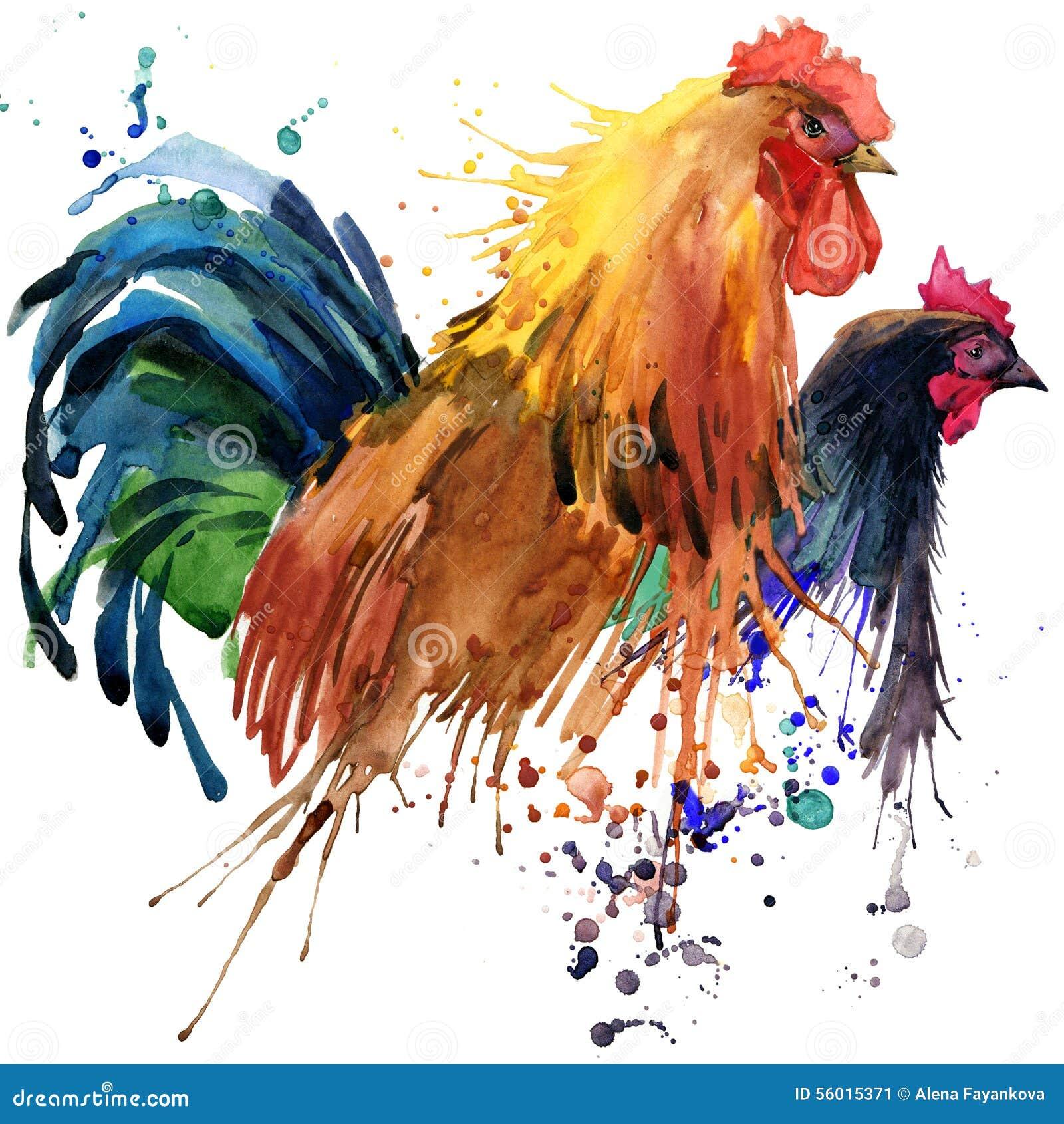Απεικόνιση κοτόπουλου και κοτόπουλου και κοκκόρων οικογενειών μπλουζών κοκκόρων γραφικής παράστασης, με το κατασκευασμένο υπόβαθρ