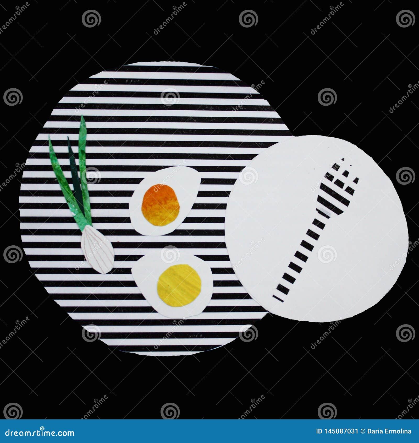 Απεικόνιση με τα ανακατωμένα αυγά σε ένα ριγωτό πιάτο