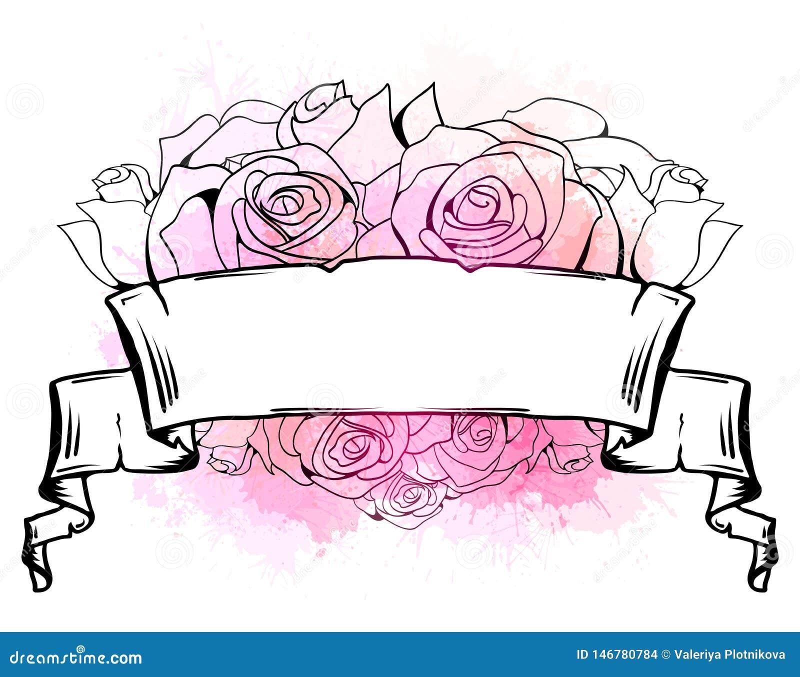 Απεικόνιση με την κατσαρωμένη κορδέλλα, καρδιά των τριαντάφυλλων και των ρόδινων παφλασμών watercolor r