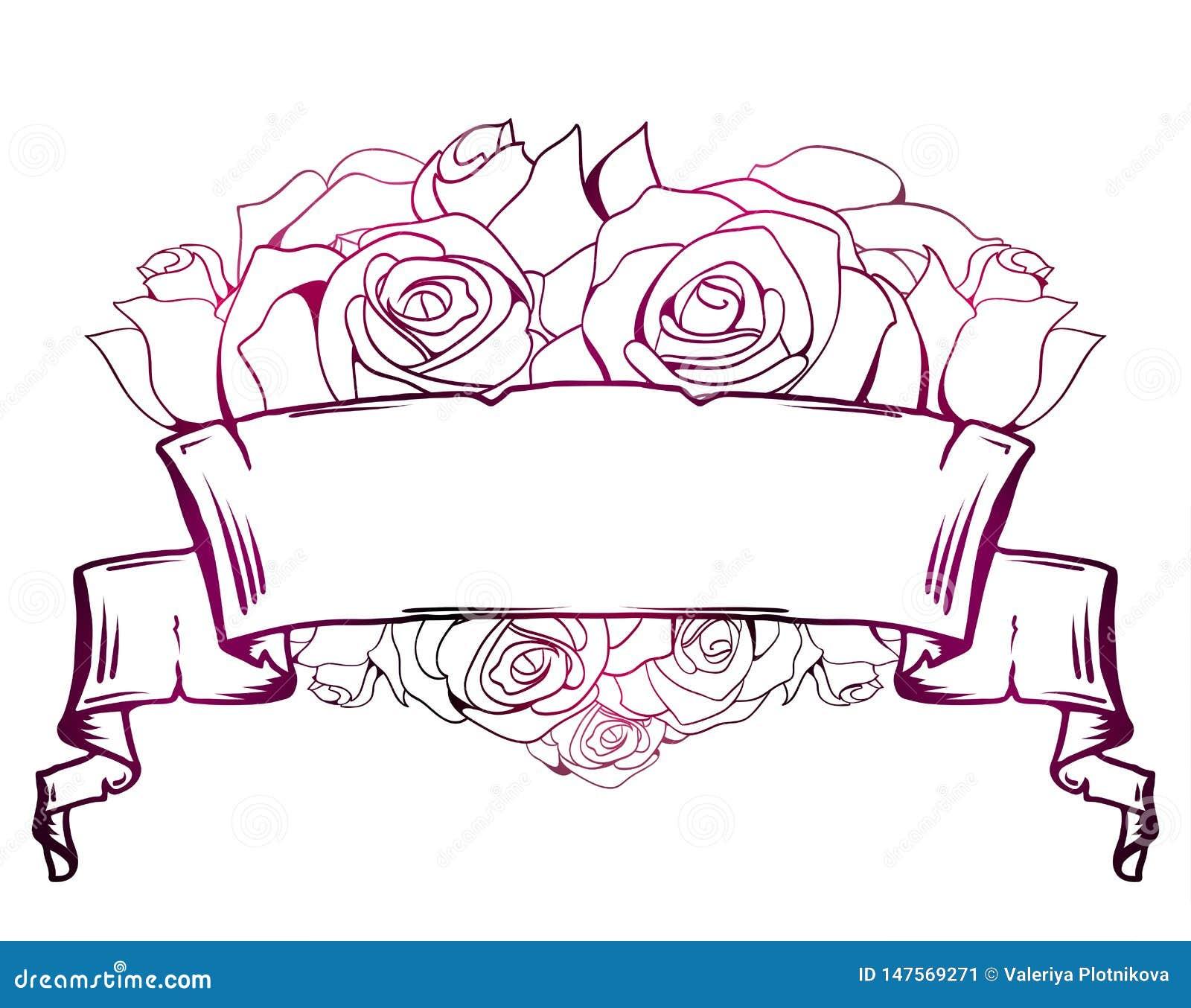 Απεικόνιση με την κατσαρωμένη περγαμηνή, καρδιά των τριαντάφυλλων Πλαίσιο με τη θέση για το κείμενο r