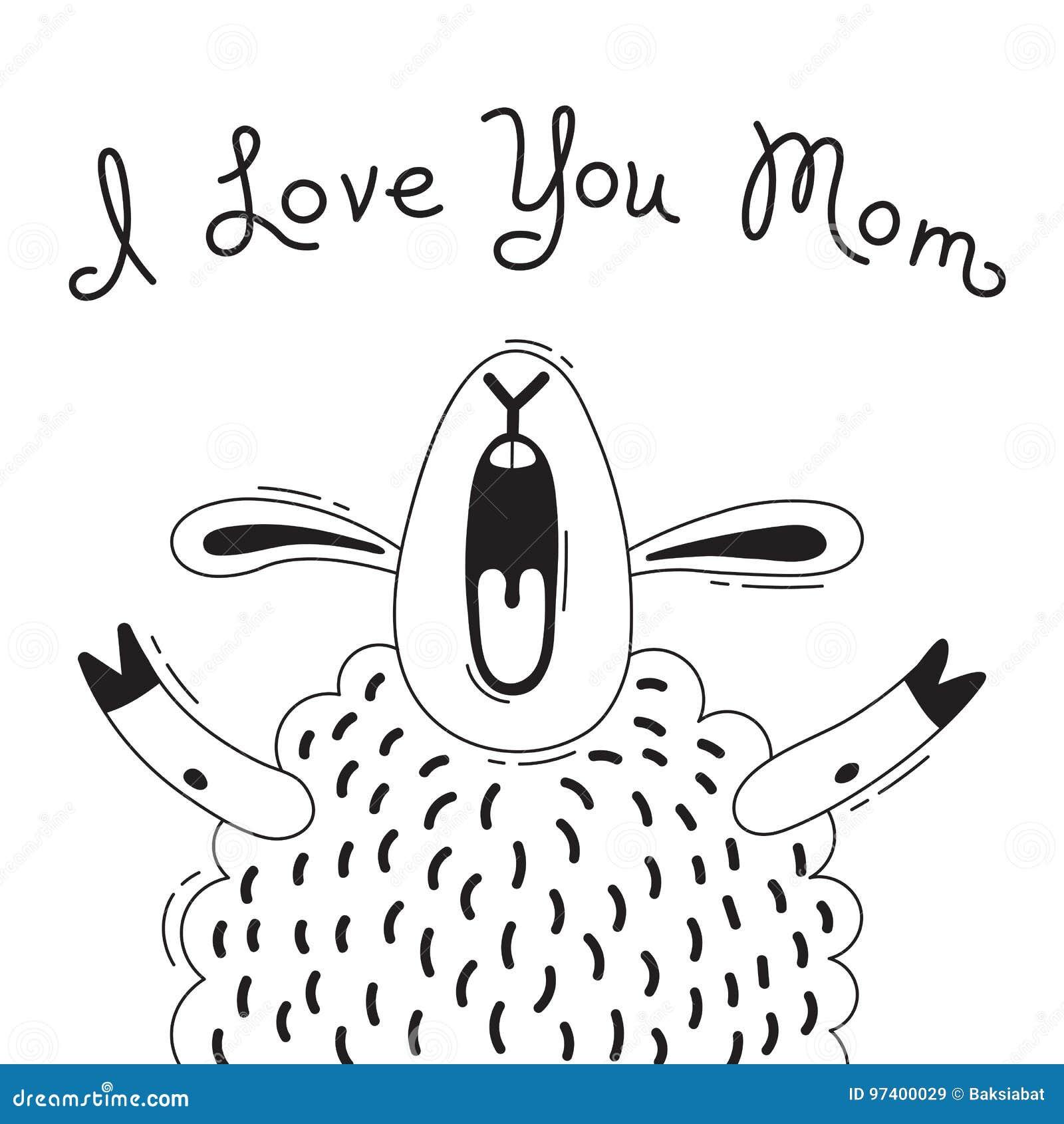 Απεικόνιση με το χαρούμενο πρόβατο που λέει - σ  αγαπώ Mom Για το σχέδιο των αστείων ειδώλων, των αφισών και των καρτών ζώο χαριτ