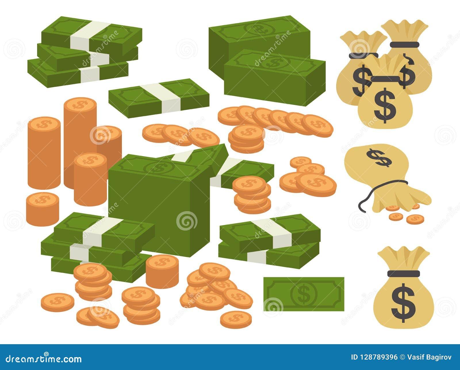 Απεικόνιση νομίσματος χρημάτων Διάφορα τραπεζογραμμάτια εγγράφου μετρητών δολαρίων λογαριασμών χρημάτων και χρυσά νομίσματα Συλλο