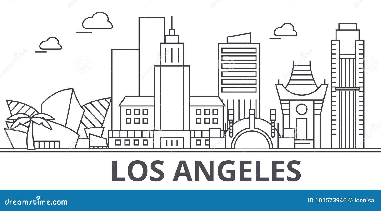 Απεικόνιση οριζόντων γραμμών αρχιτεκτονικής του Λος Άντζελες Γραμμική διανυσματική εικονική παράσταση πόλης με τα διάσημα ορόσημα