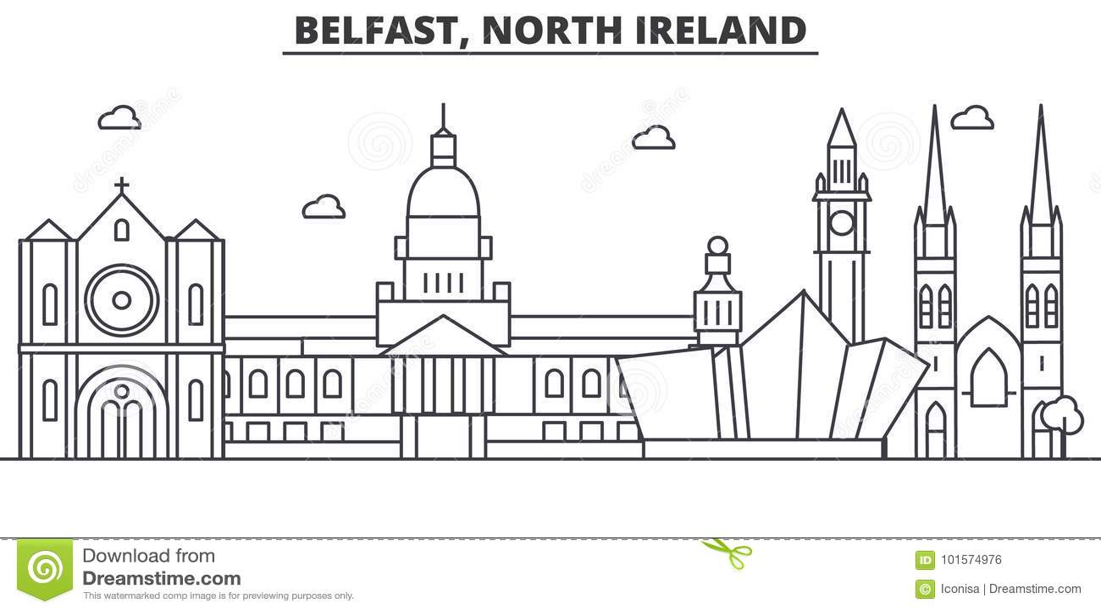 Απεικόνιση οριζόντων γραμμών αρχιτεκτονικής του Μπέλφαστ, βόρεια Ιρλανδία Γραμμική διανυσματική εικονική παράσταση πόλης με τα δι