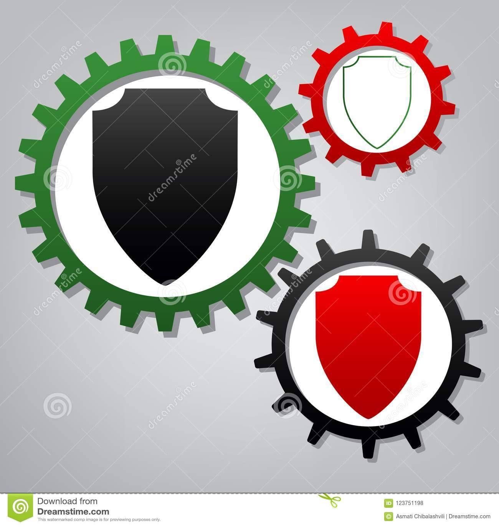 Απεικόνιση σημαδιών ασπίδων διάνυσμα Τρία συνδεδεμένα εργαλεία με το ico