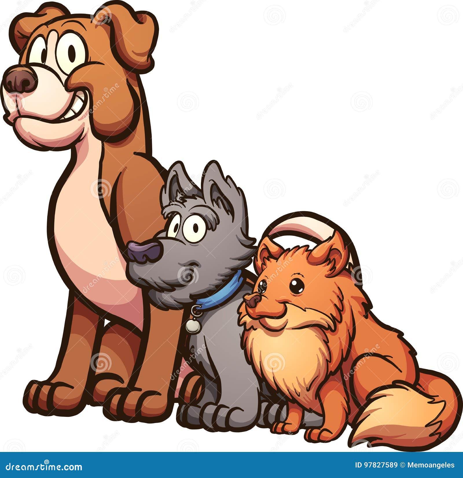 απεικόνιση σκυλιών σχεδίου κινούμενων σχεδίων ανασκόπησης