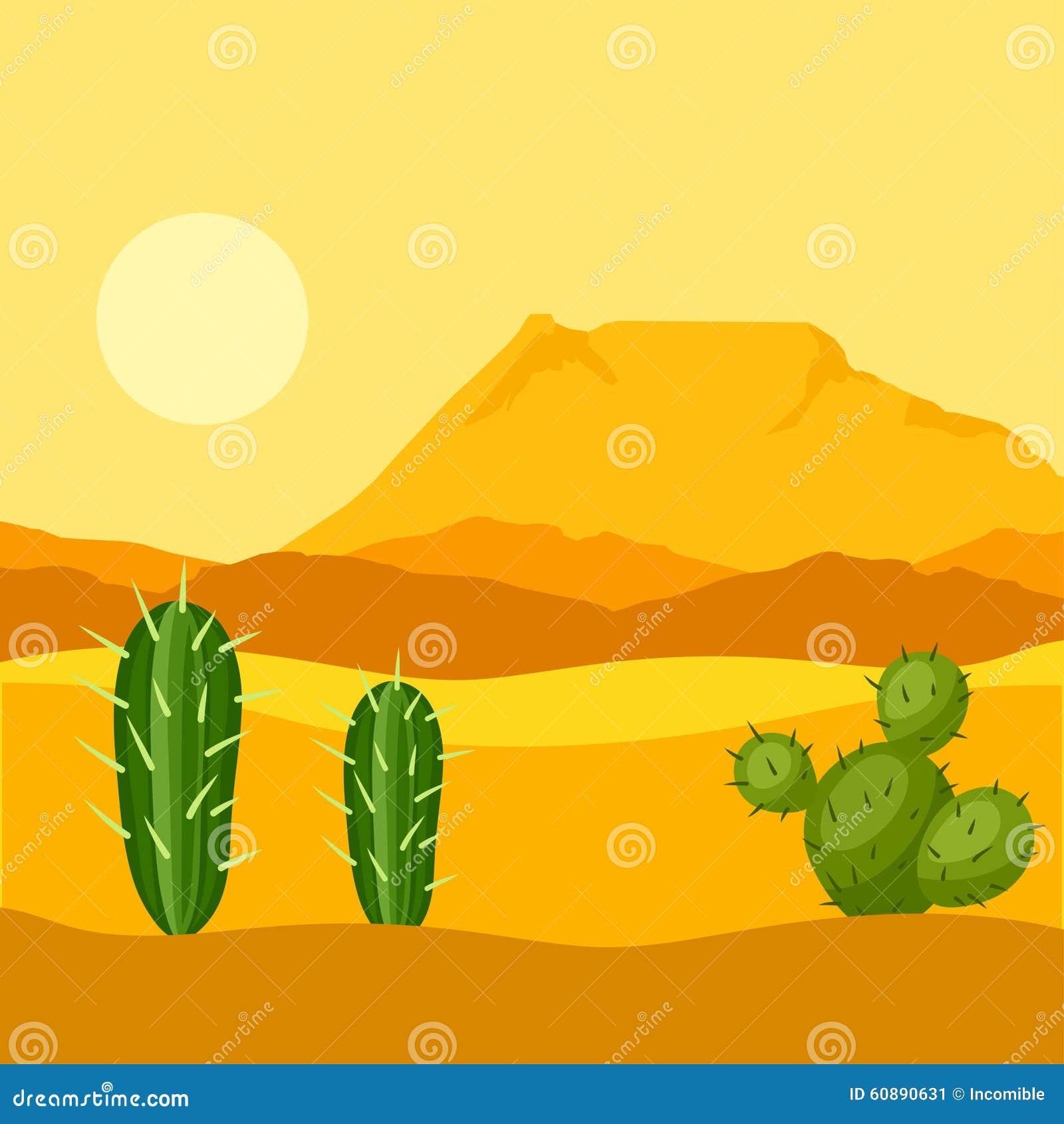 Απεικόνιση της μεξικάνικης ερήμου με τους κάκτους και