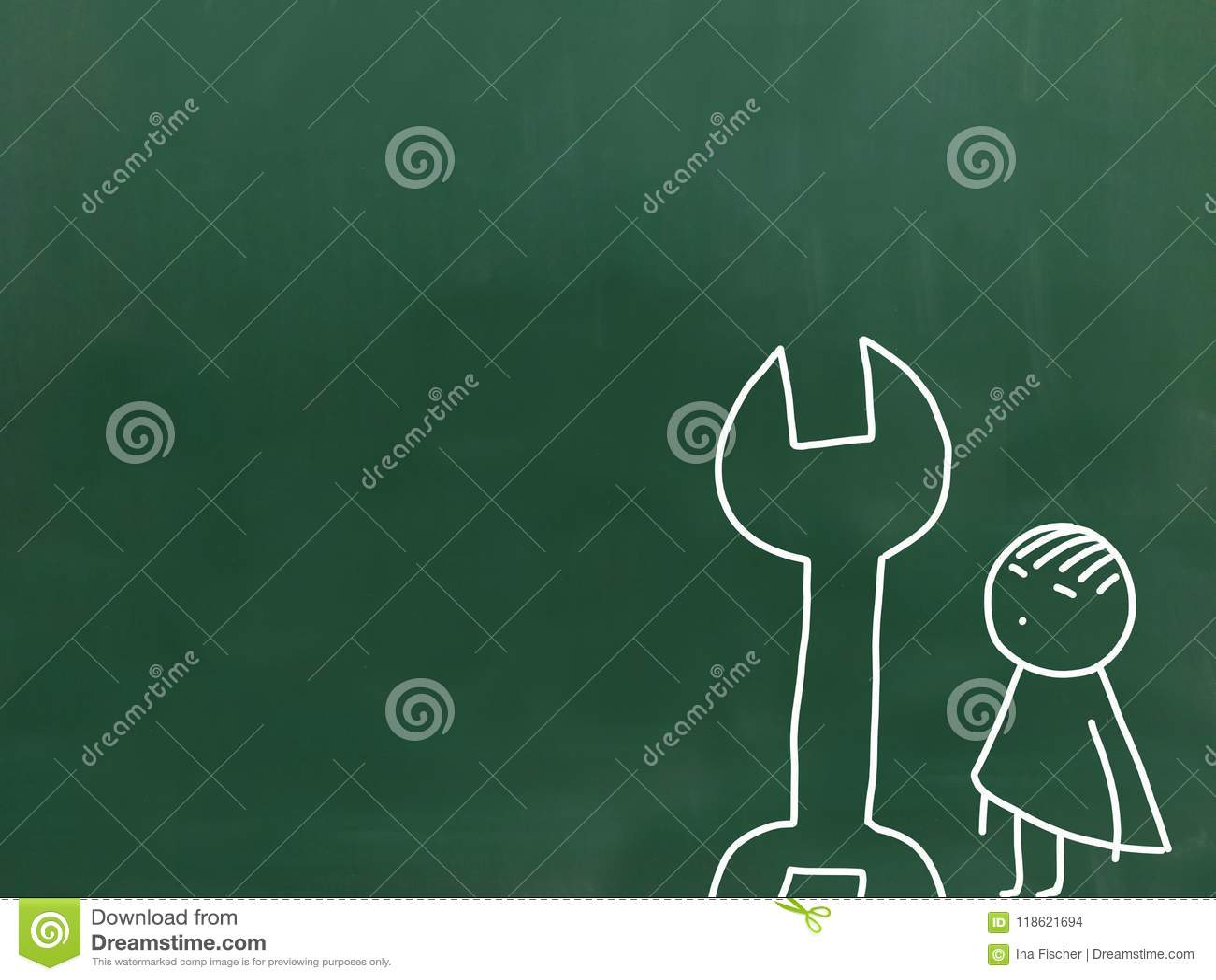 Απεικόνιση της παιδικής εργασίας ένας πράσινος πίνακας κιμωλίας