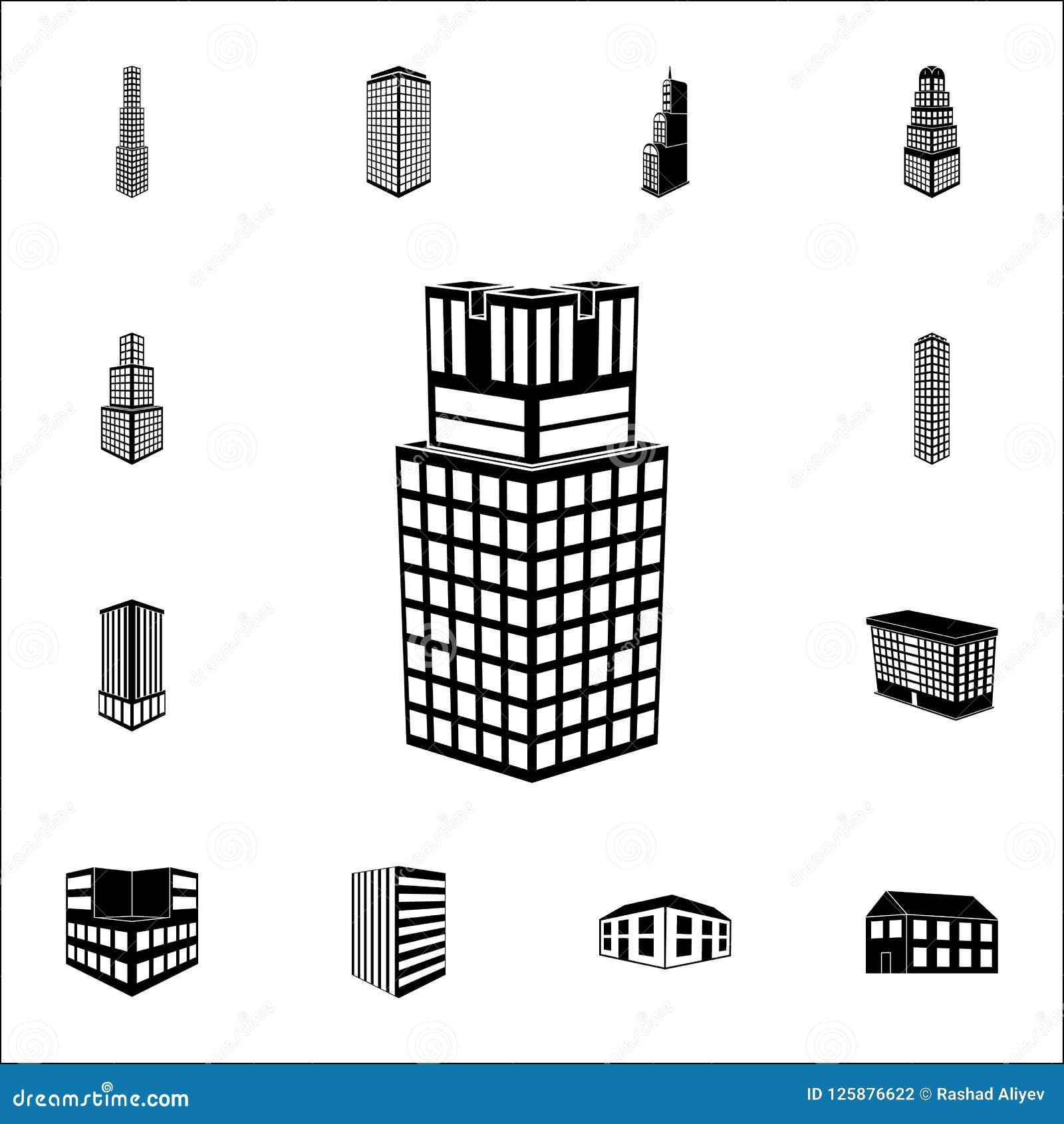 απεικόνιση της τρισδιάστατης οικοδόμησης του πανεπιστημιακού εικονιδίου τρισδιάστατο καθολικό εικονιδίων οικοδόμησης που τίθεται