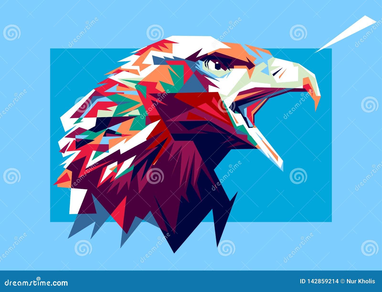 Απεικόνιση του αετού στο λαϊκό ύφος τέχνης χρώματος