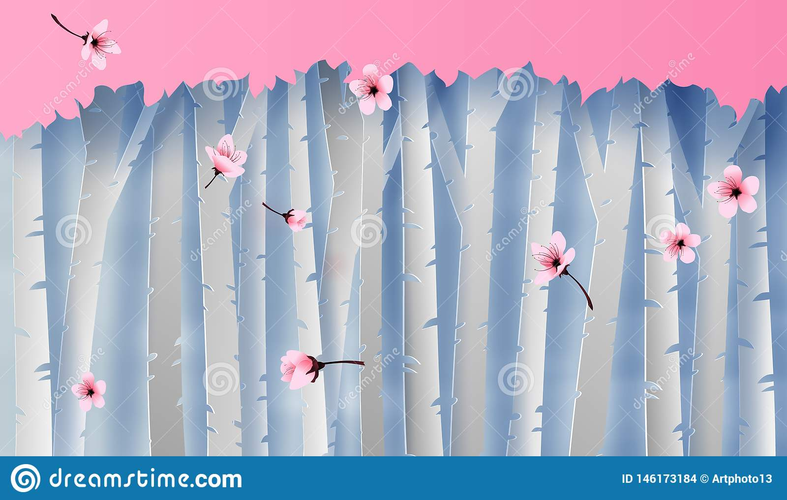 Απεικόνιση του δασικού άποψης δέντρου κερασιών σκηνής ζωηρόχρωμου ανθίζοντας γραφικός για τη θέση λουλουδιών sakura για το υπόβαθ