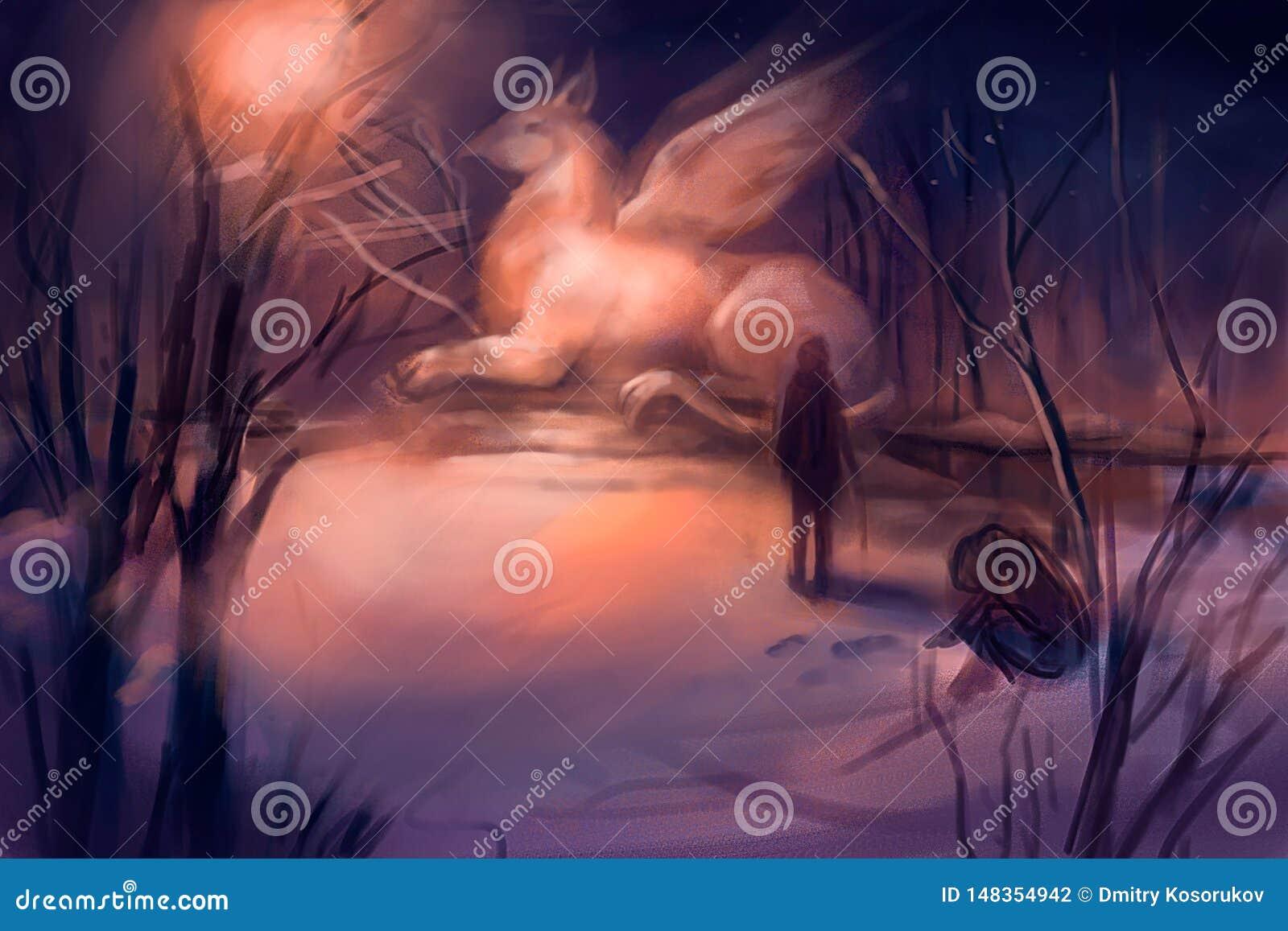 Απεικόνιση του μονοκέρου το χειμώνα