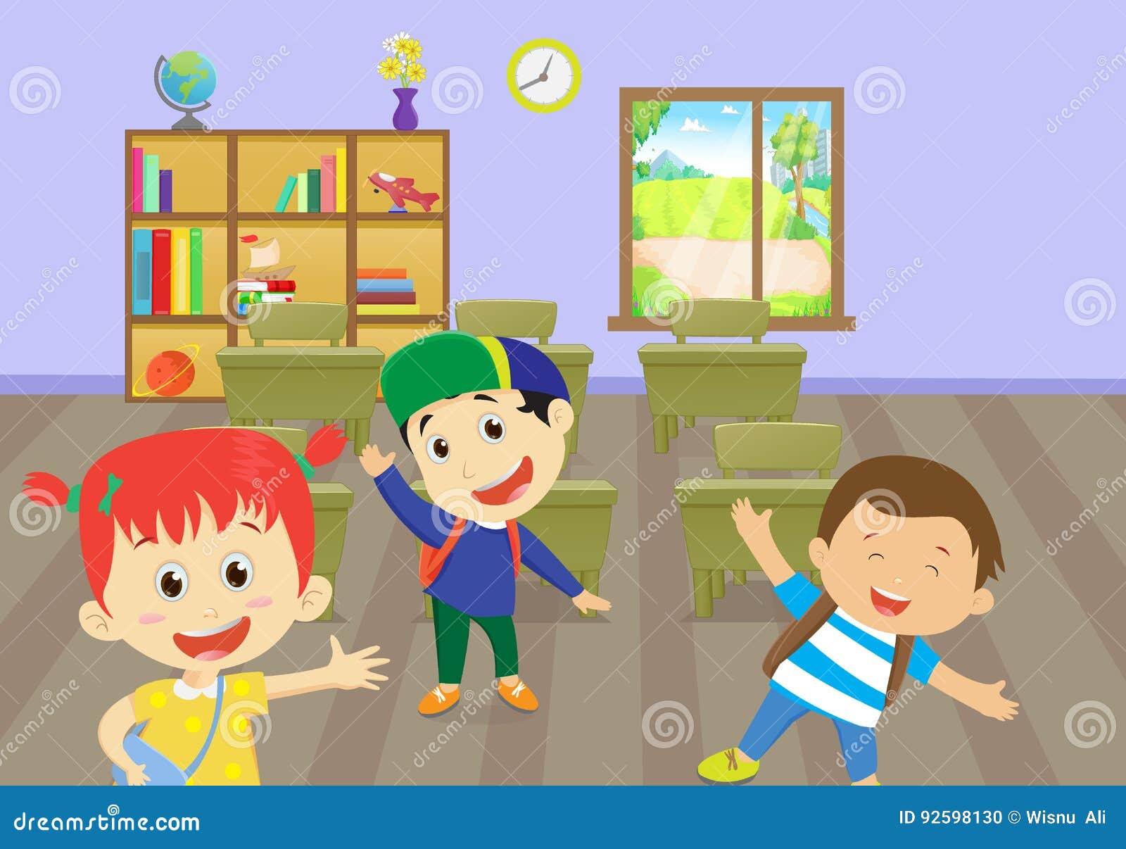 Απεικόνιση των ευτυχών παιδιών που απολαμβάνουν στην τάξη