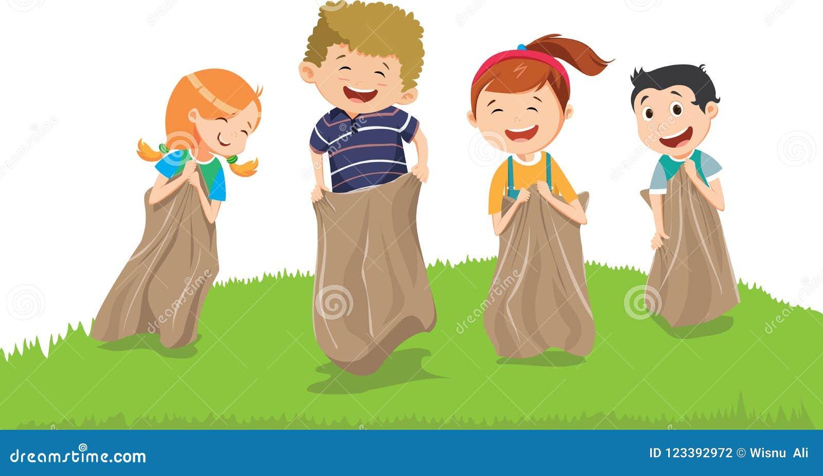 Απεικόνιση των παιδιών που έχουν τη διασκέδαση με τους σάκους σε ένα λιβάδι