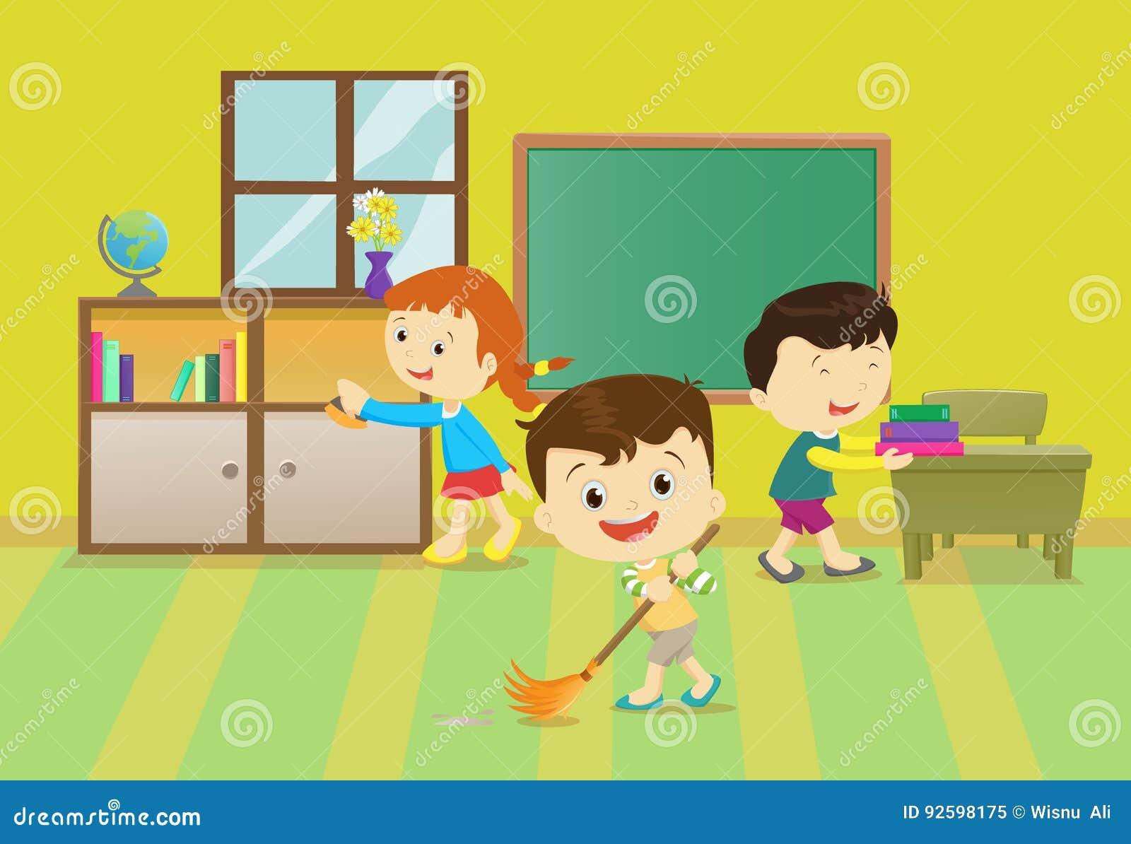 Απεικόνιση των παιδιών που καθαρίζουν την τάξη