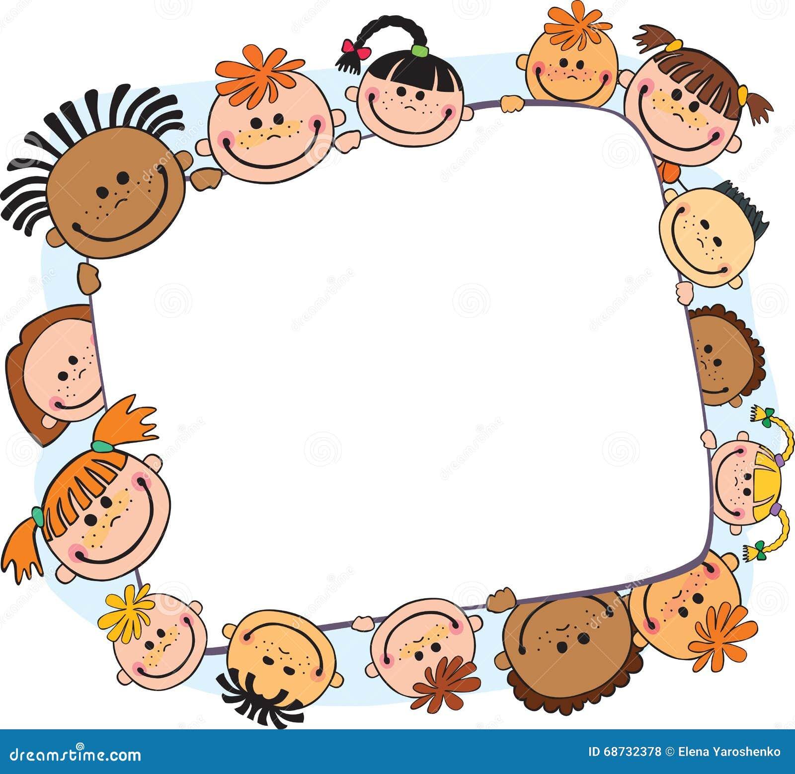 Απεικόνιση των παιδιών που τιτιβίζουν πίσω από το διάνυσμα εμβλημάτων