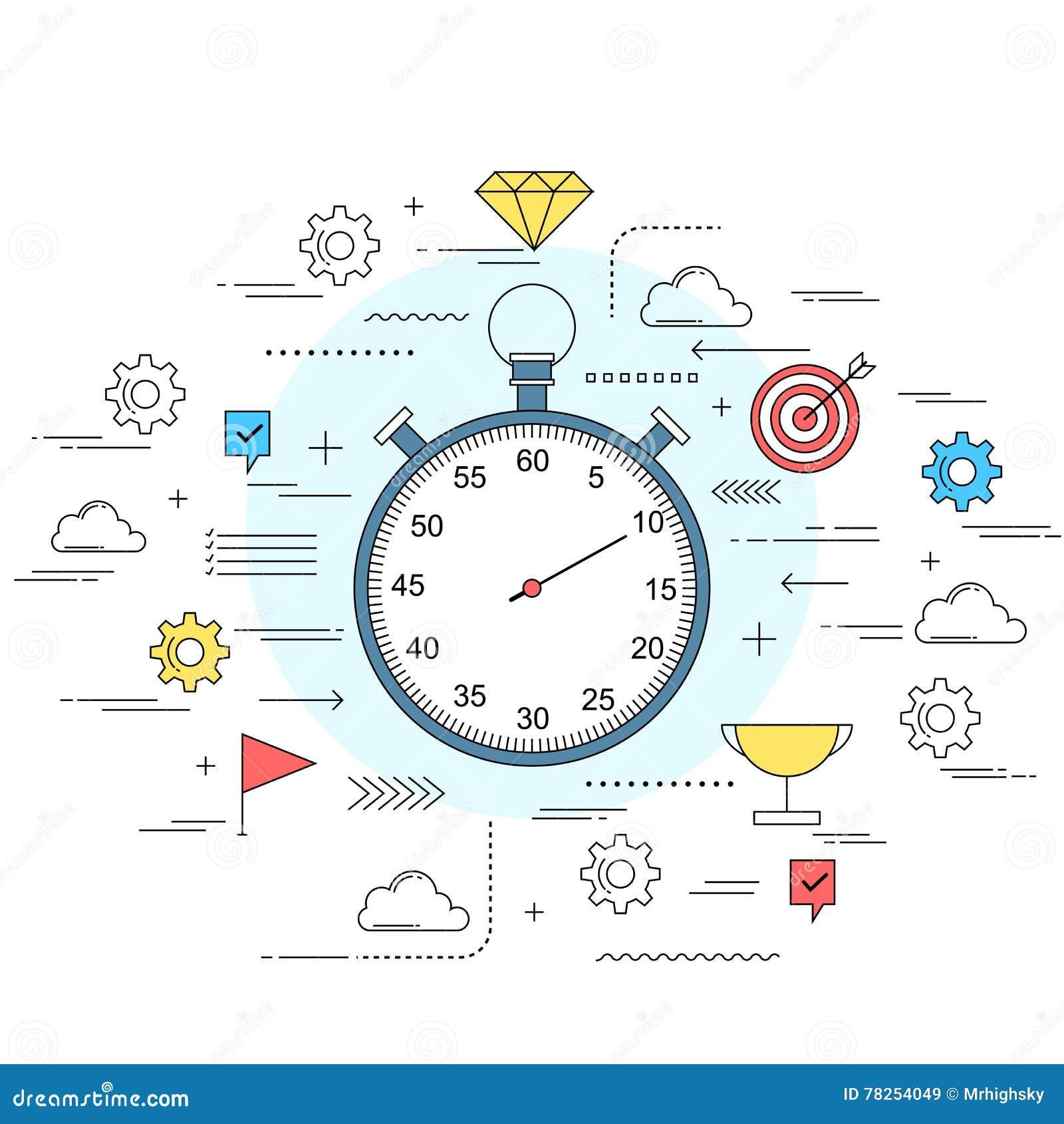 Απεικόνιση ύφους γραμμών έννοιας χρονικής διαχείρισης
